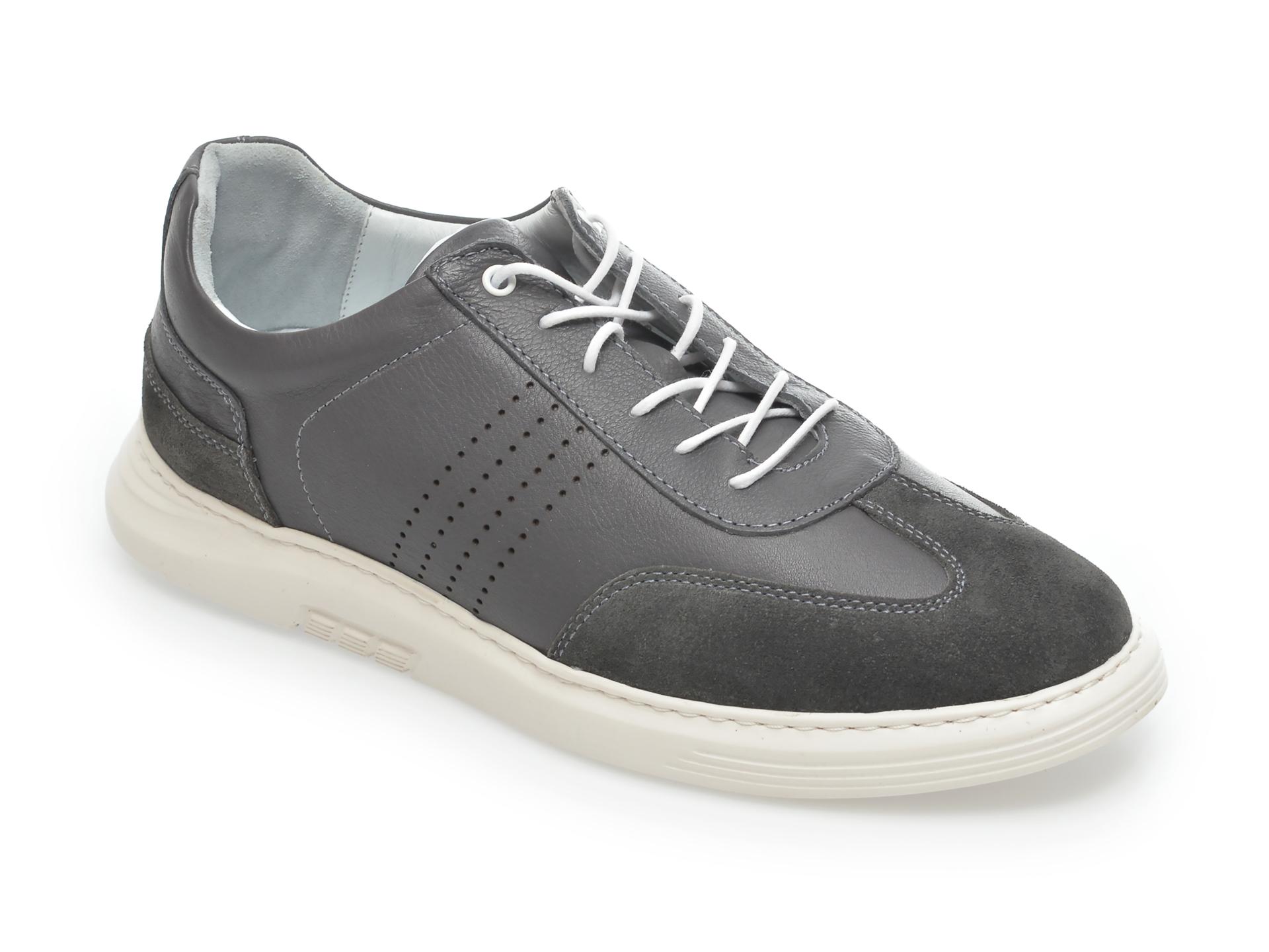 Pantofi OTTER gri, 2024, din piele naturala imagine