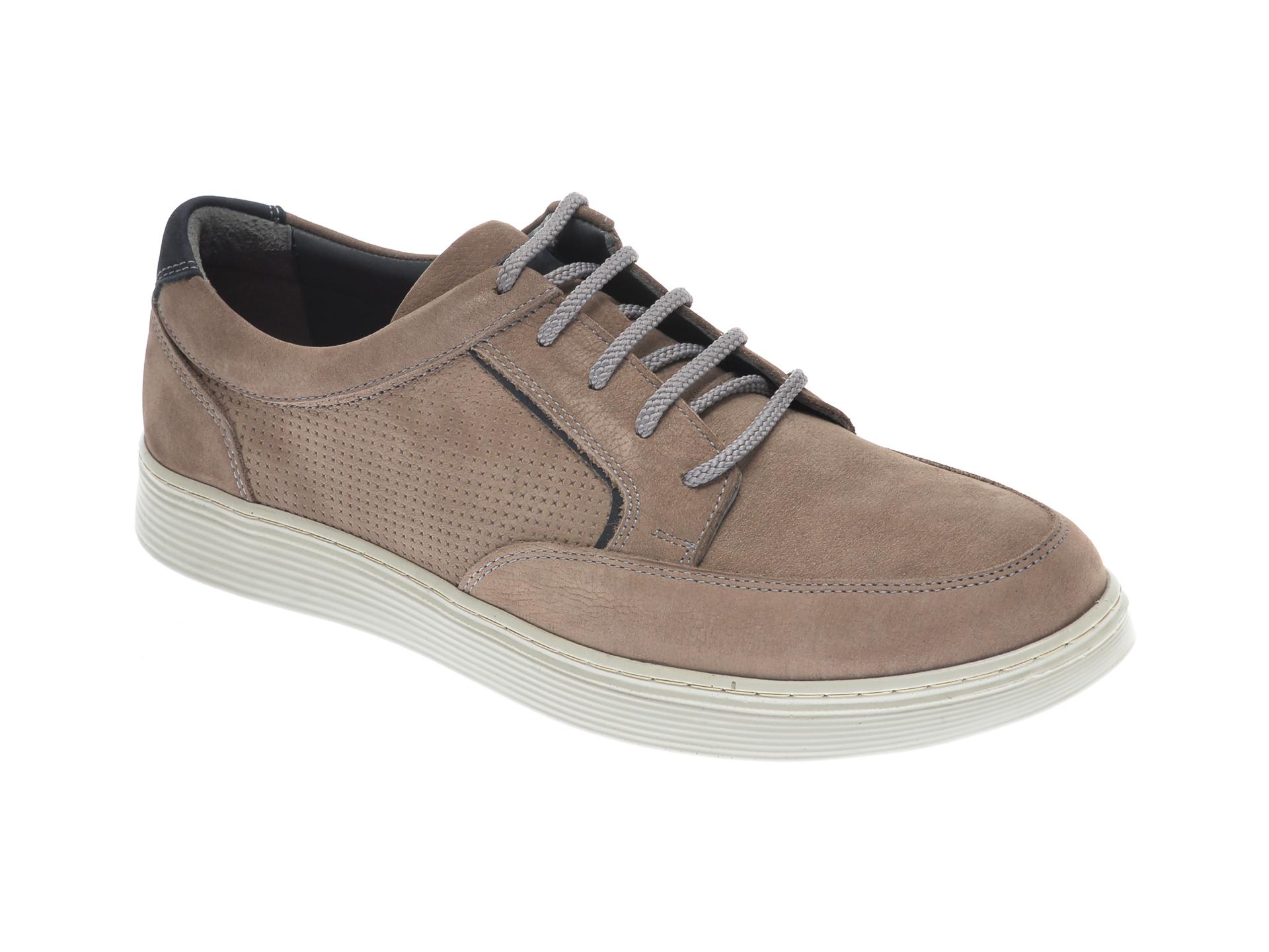 Pantofi OTTER gri, 204108, din nabuc New
