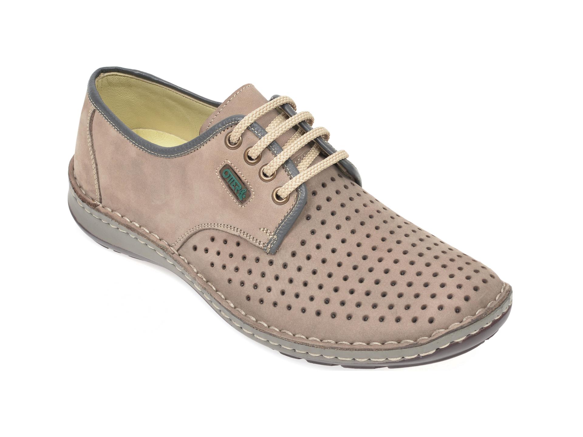 Pantofi OTTER gri, 9558, din nabuc imagine