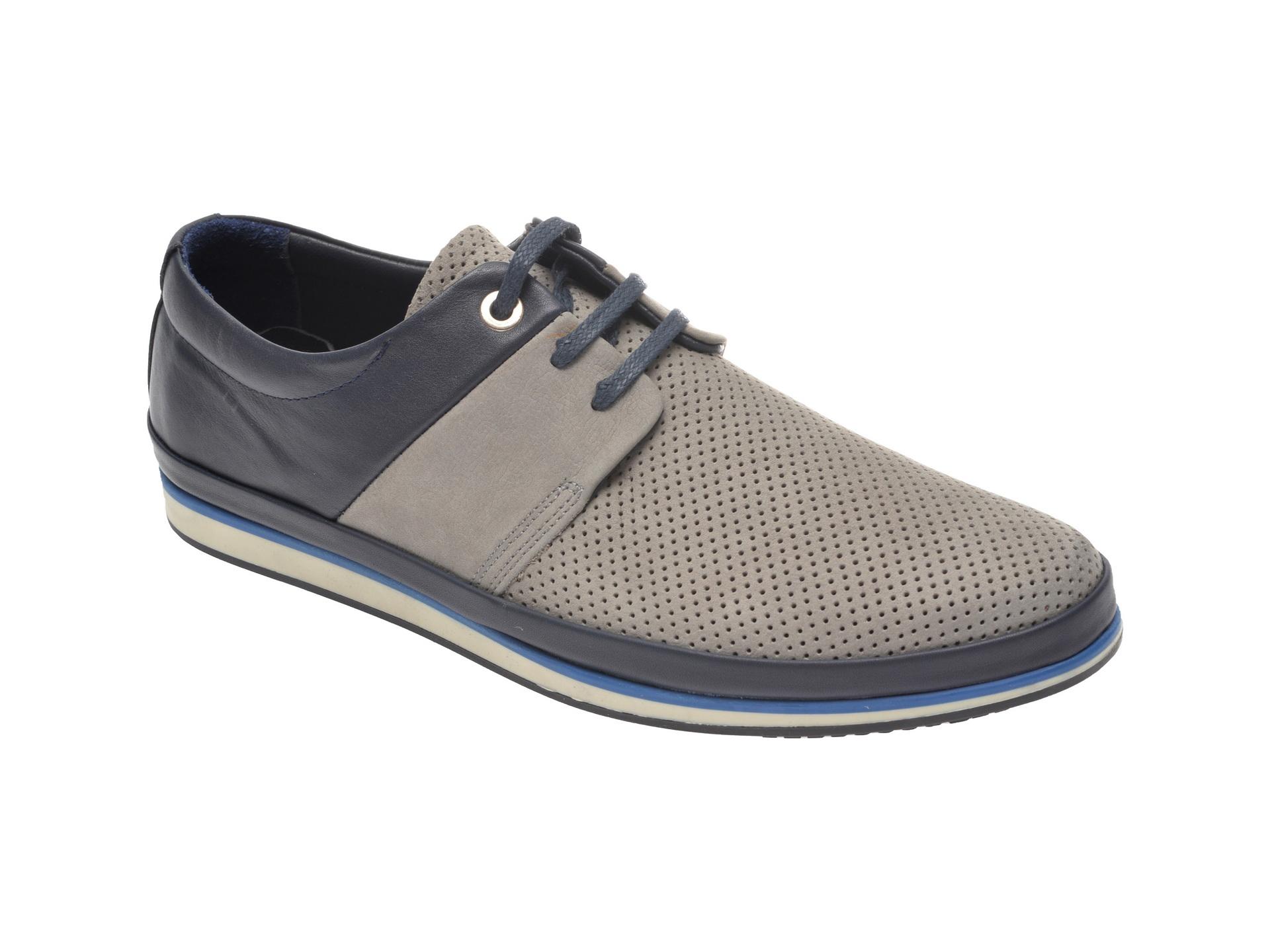 Pantofi OTTER gri, M5119, din nabuc imagine