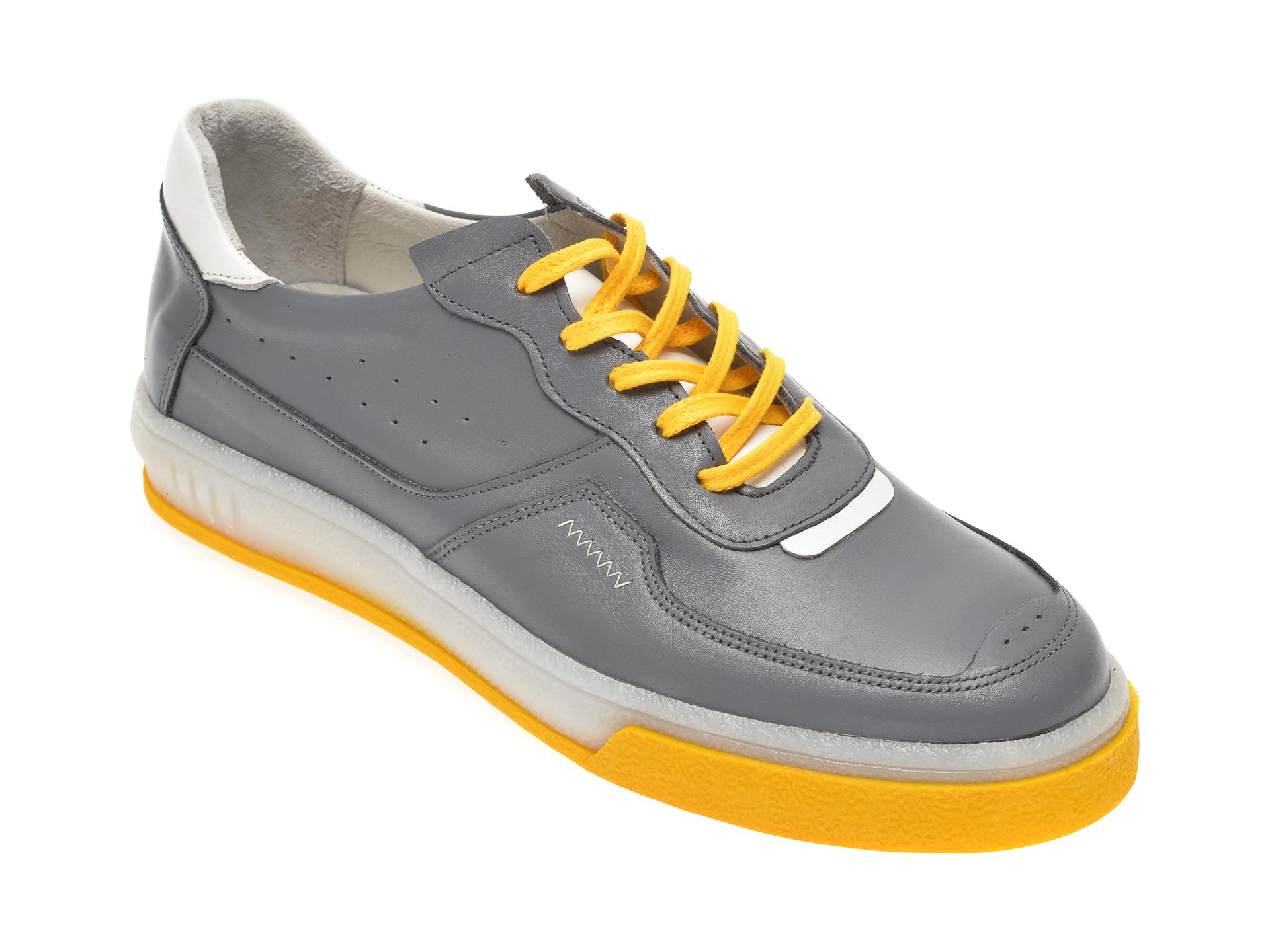 Pantofi OTTER gri, M5535, din piele naturala imagine