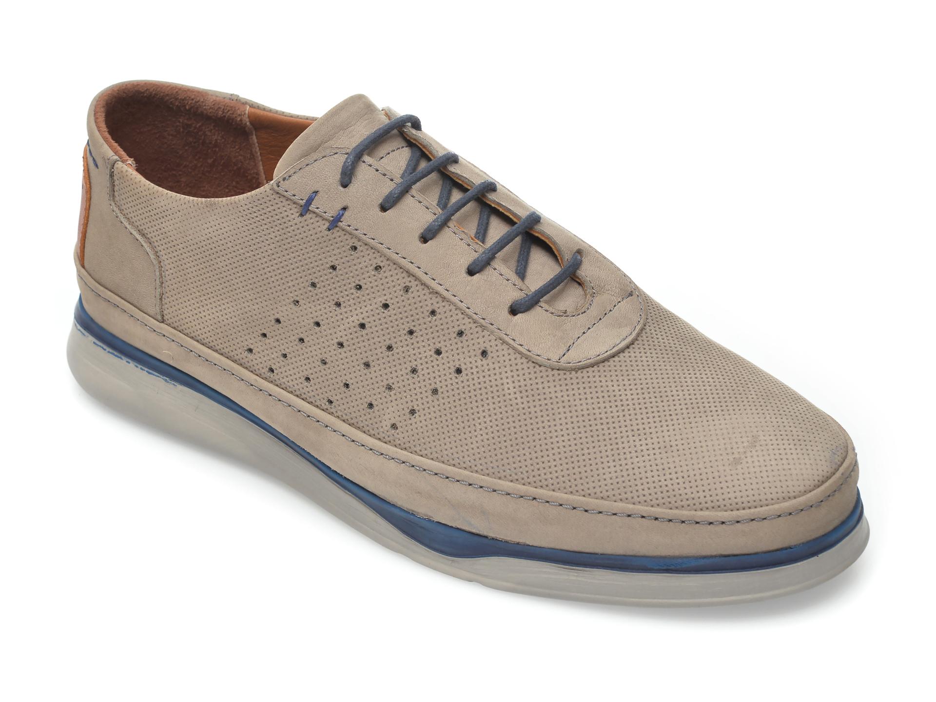 Pantofi OTTER gri, M5580, din nabuc imagine