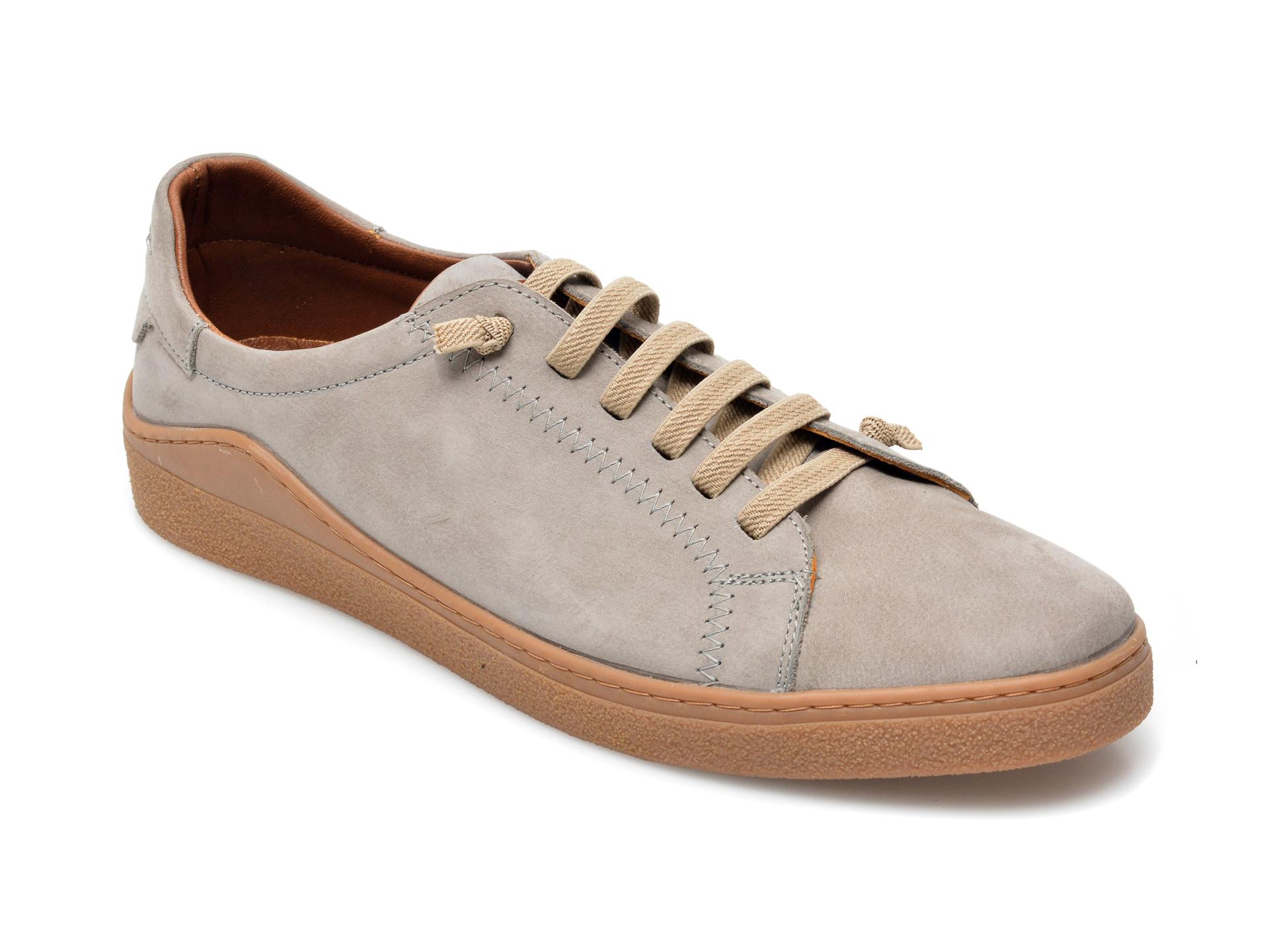 Pantofi OTTER gri, M5607, din nabuc imagine