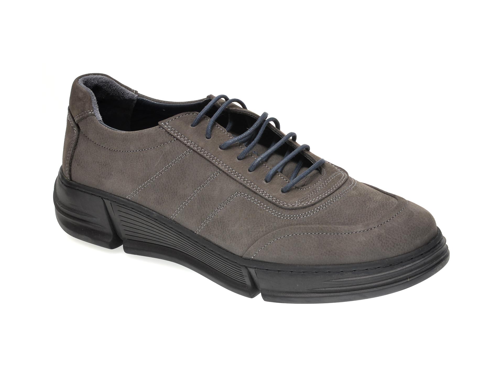 Pantofi OTTER gri, M5726, din nabuc New