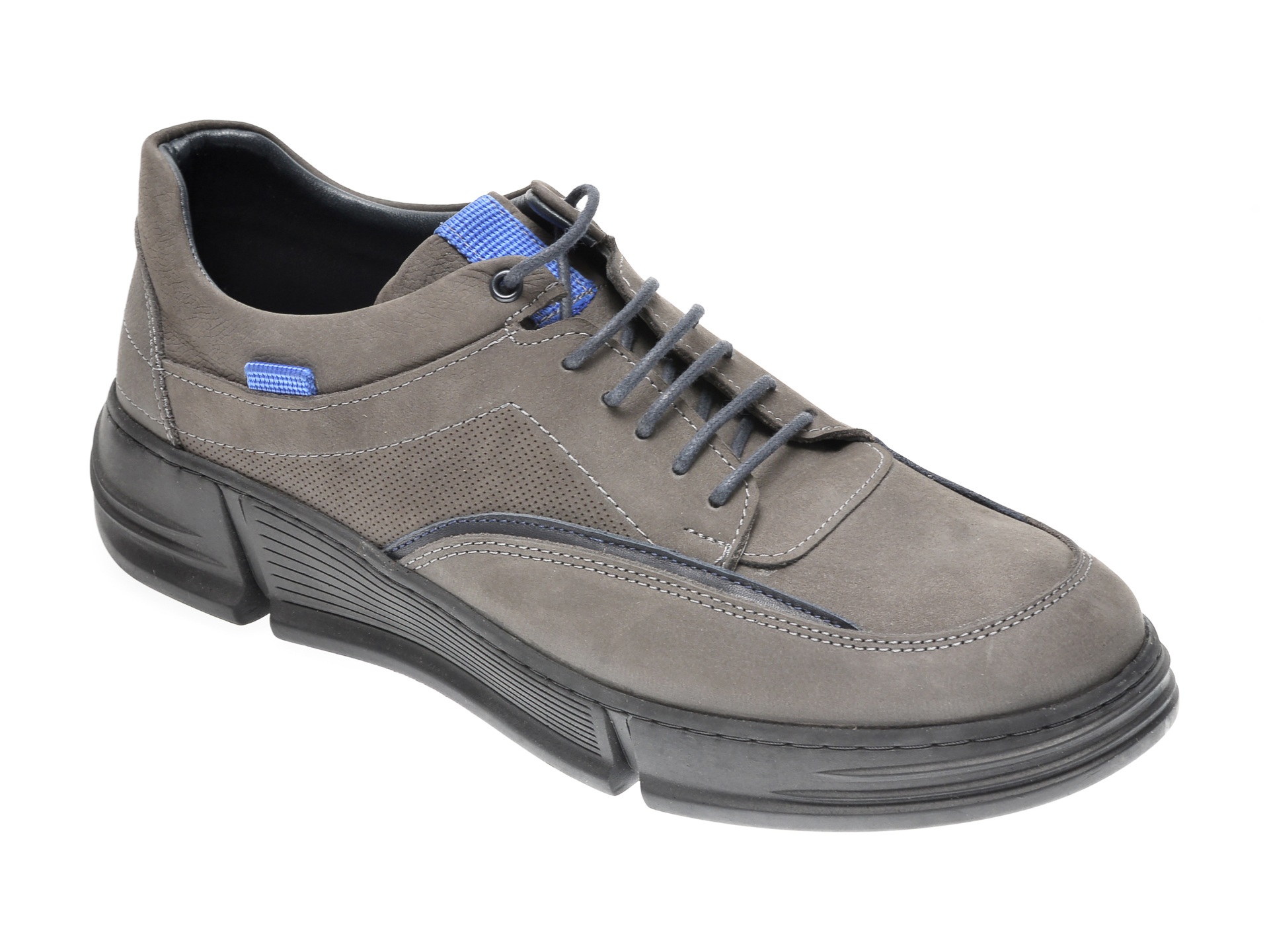 Pantofi OTTER gri, M5734, din nabuc imagine