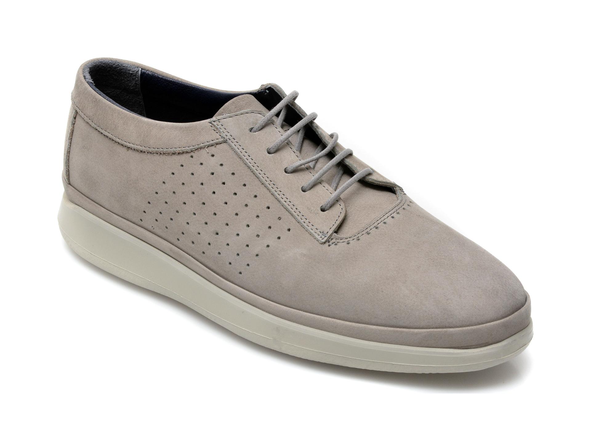Pantofi OTTER gri, M6001, din nabuc imagine otter.ro 2021