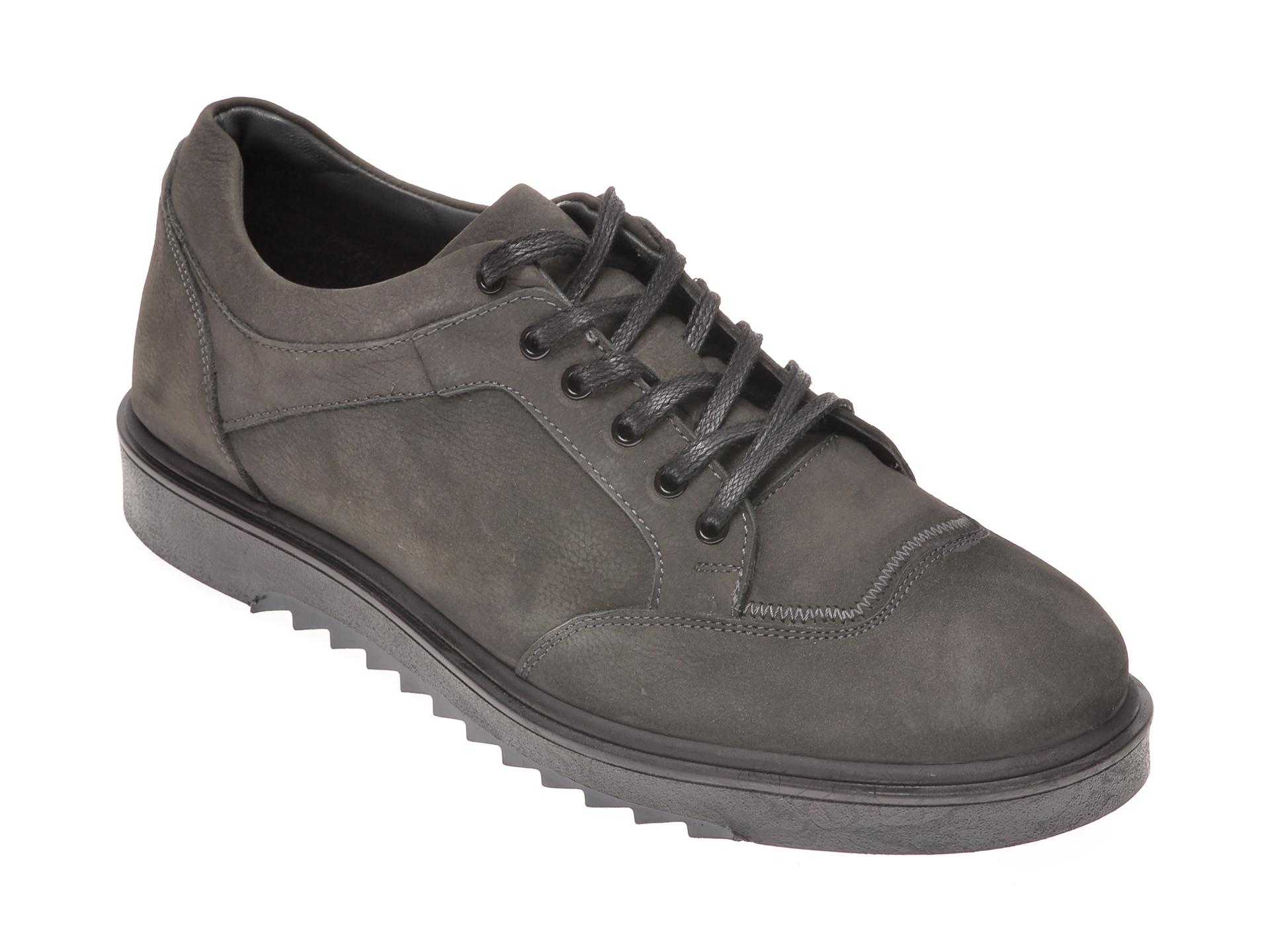 Pantofi OTTER gri, P0312, din nabuc imagine