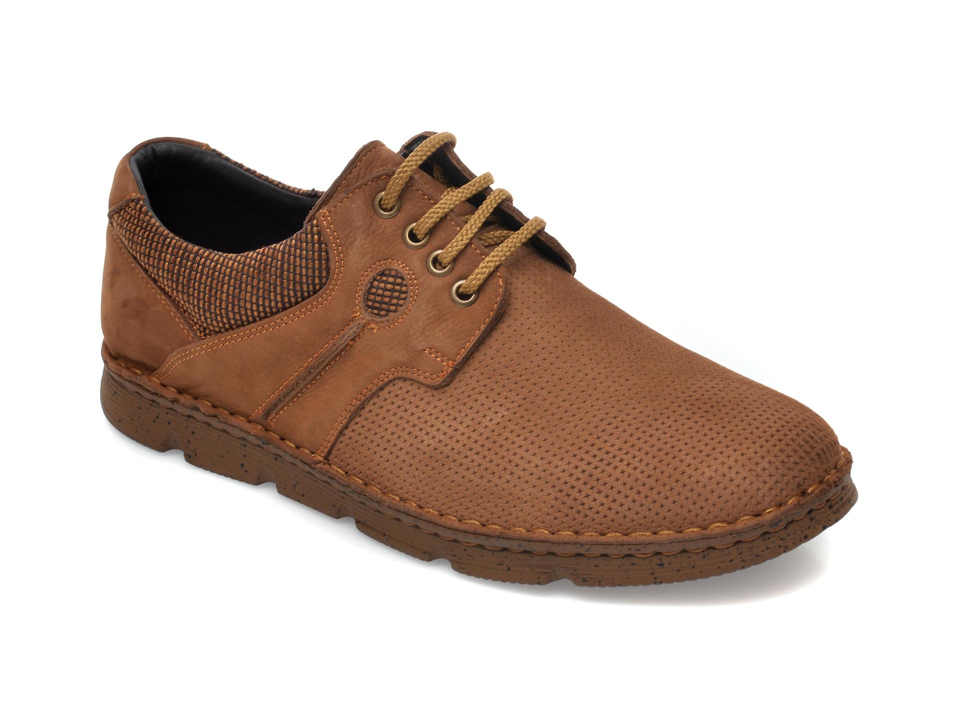 Pantofi OTTER maro, 2827, din nabuc imagine