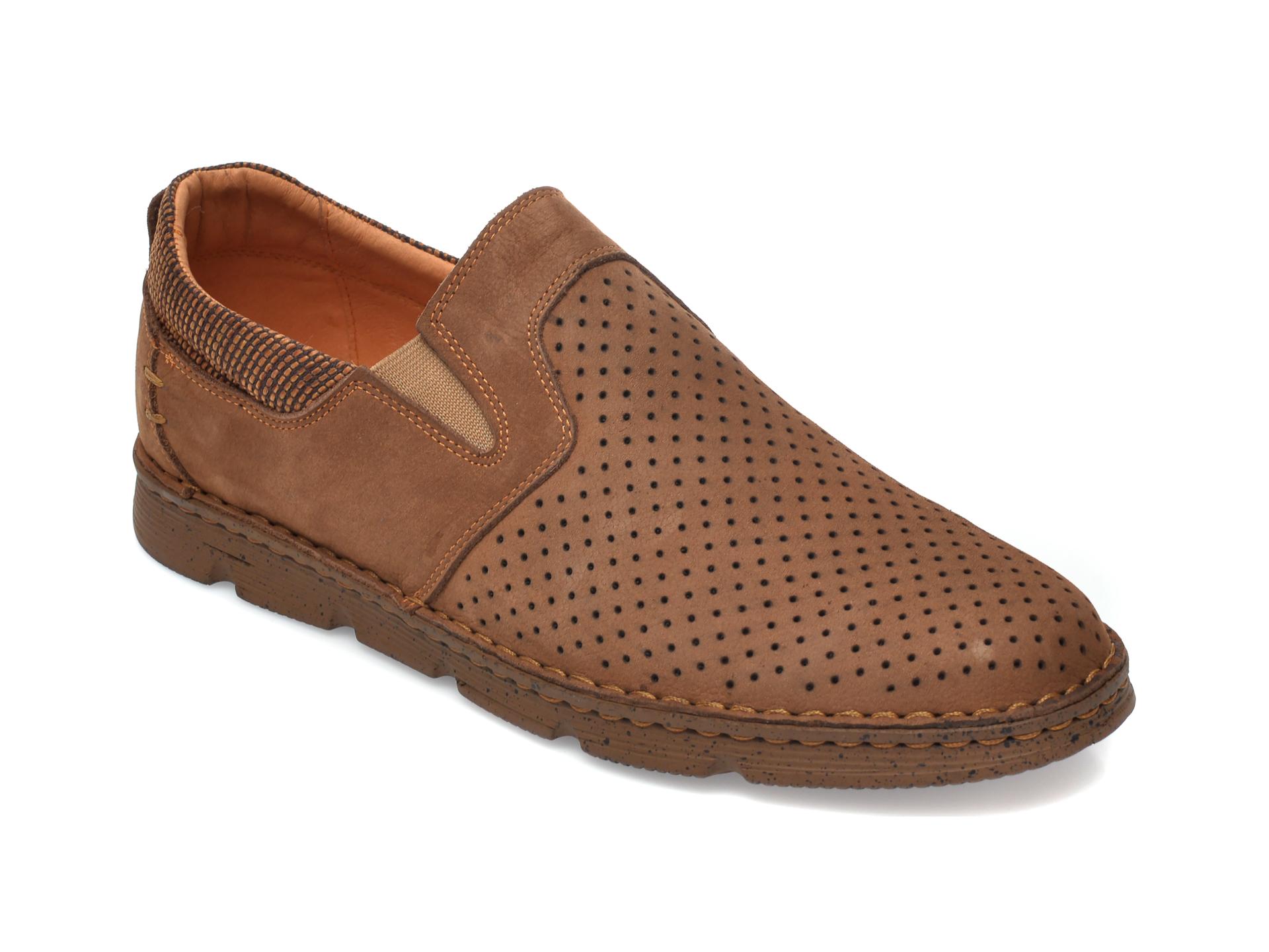 Pantofi OTTER maro, 2832, din nabuc imagine