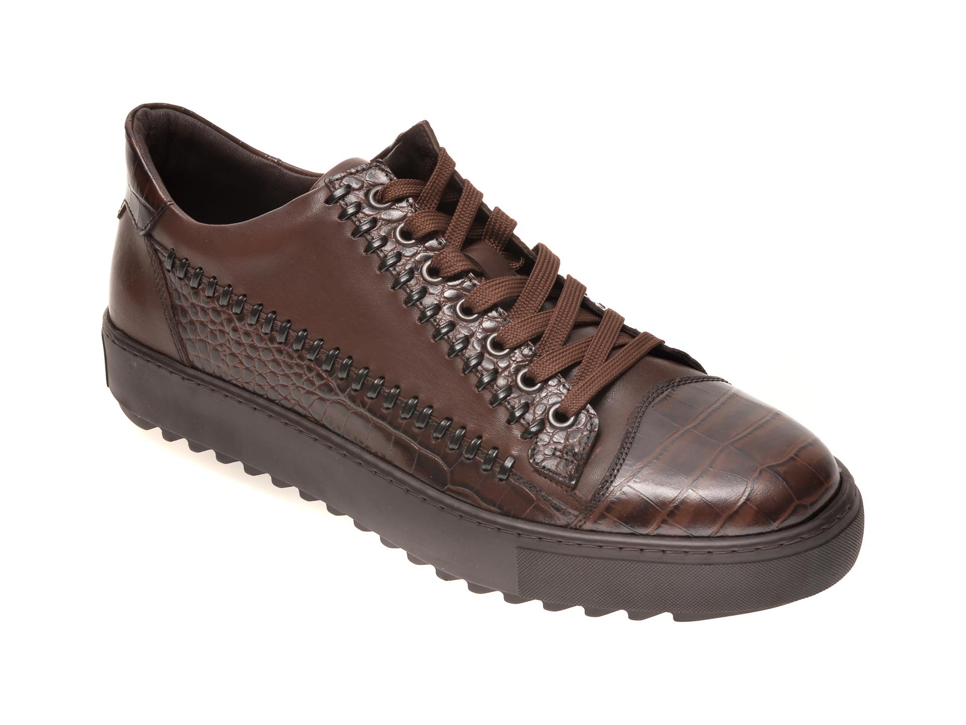 Pantofi OTTER maro, 601, din piele naturala imagine