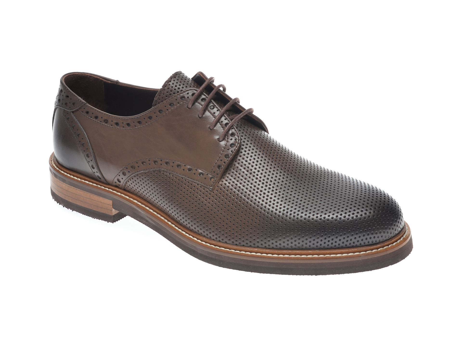Pantofi OTTER maro, 7839, din piele naturala imagine