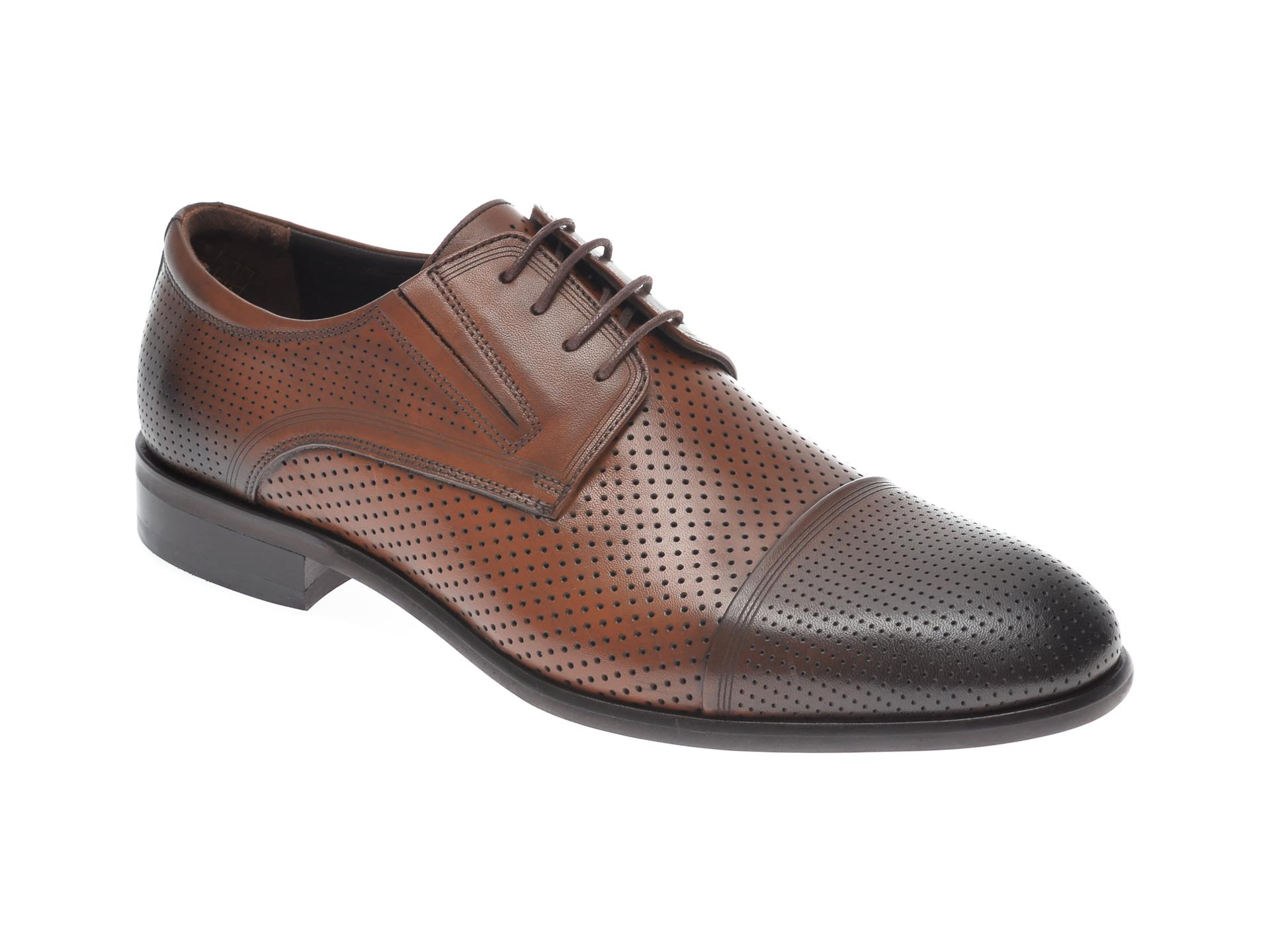 Pantofi OTTER maro, 7840, din piele naturala imagine