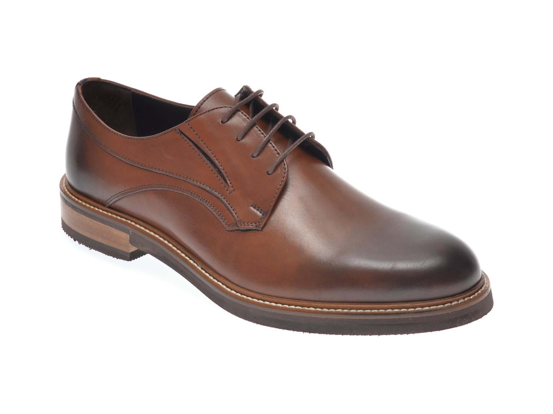 Pantofi OTTER maro, 7841, din piele naturala imagine