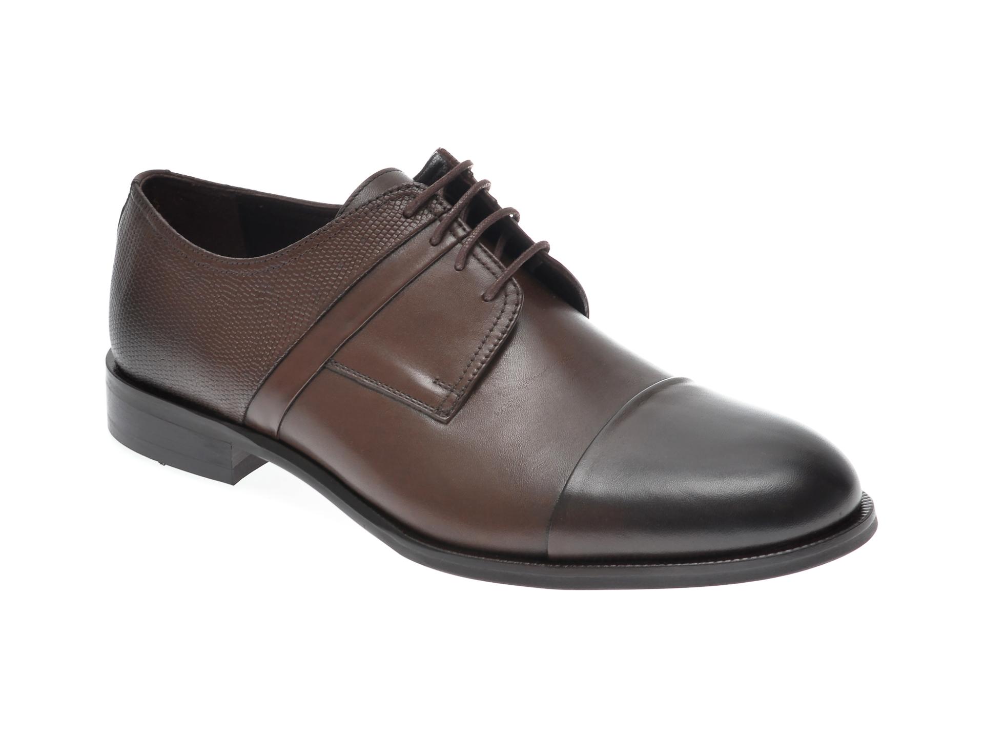 Pantofi OTTER maro, 7842, din piele naturala imagine
