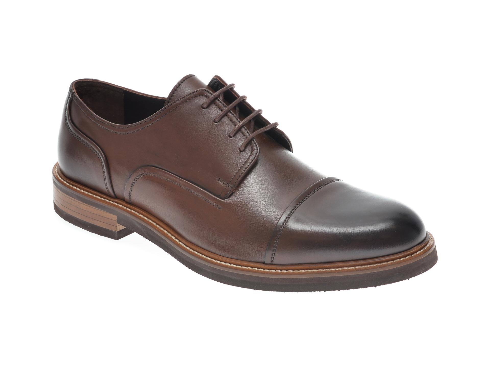 Pantofi OTTER maro, 7843, din piele naturala imagine