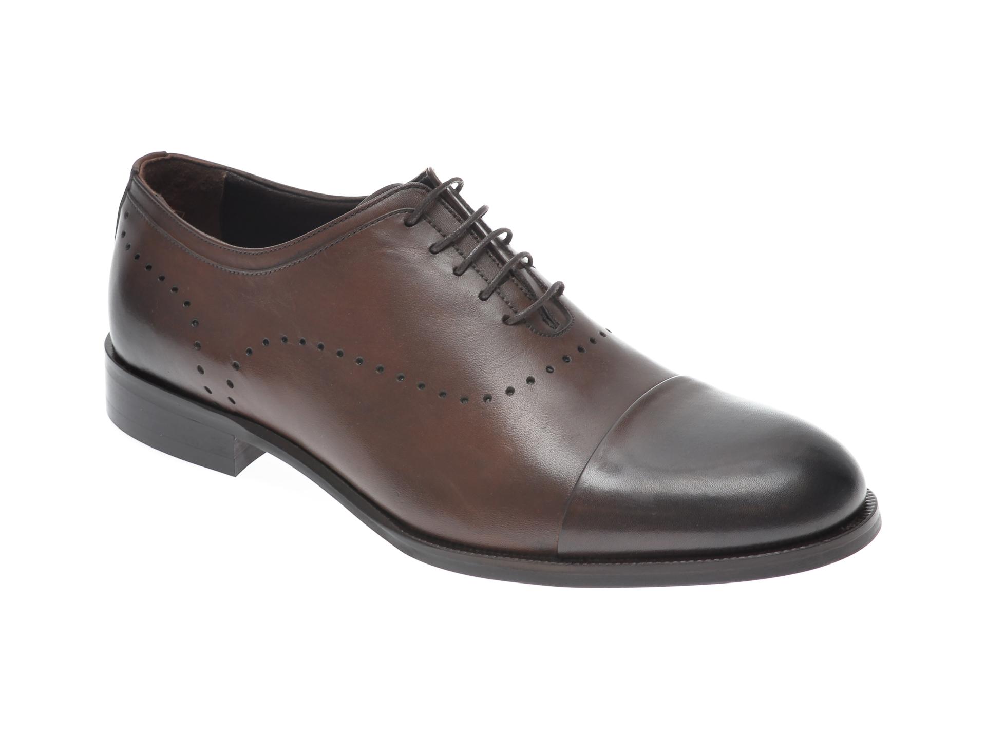 Pantofi OTTER maro, 7844, din piele naturala imagine