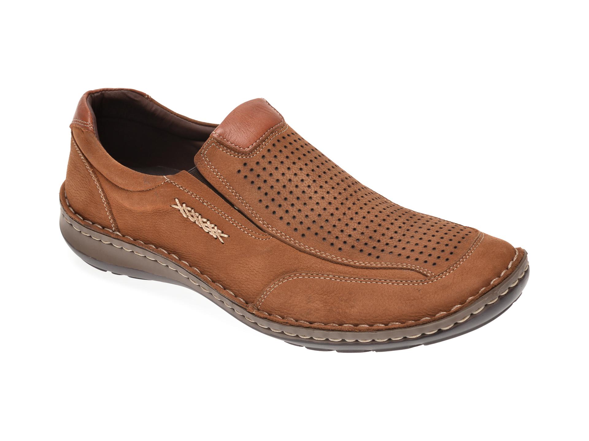 Pantofi OTTER maro, 9550, din piele intoarsa imagine