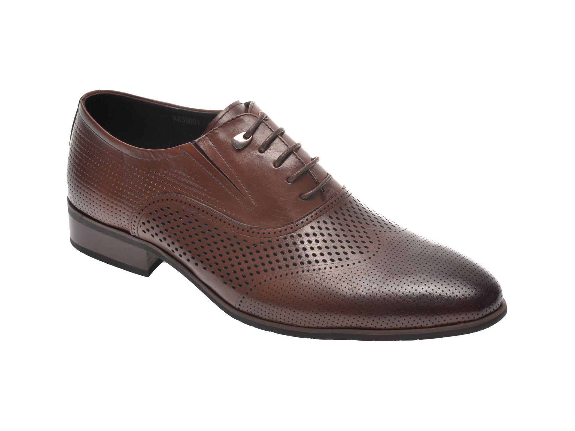 Pantofi OTTER maro, A833001, din piele naturala imagine