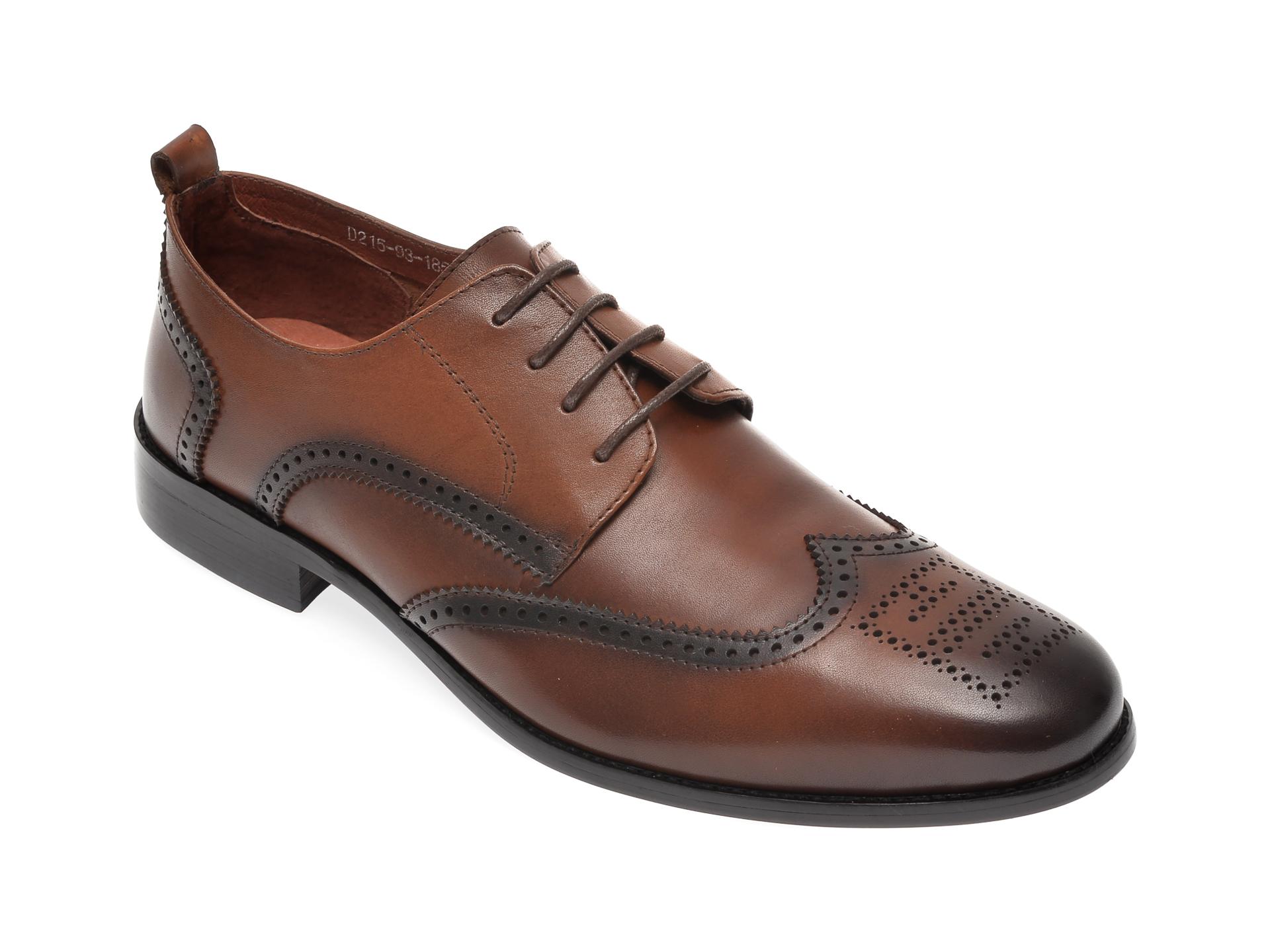 Pantofi OTTER maro, D21593, din piele naturala imagine