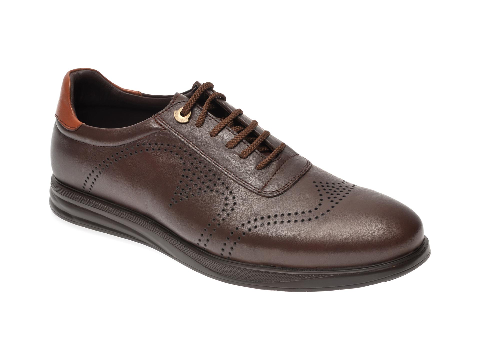 Pantofi OTTER maro, E881, din piele naturala imagine
