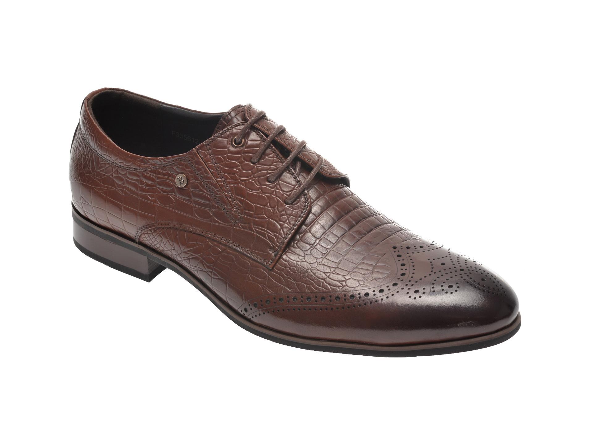 Pantofi OTTER maro, F335612, din piele naturala imagine
