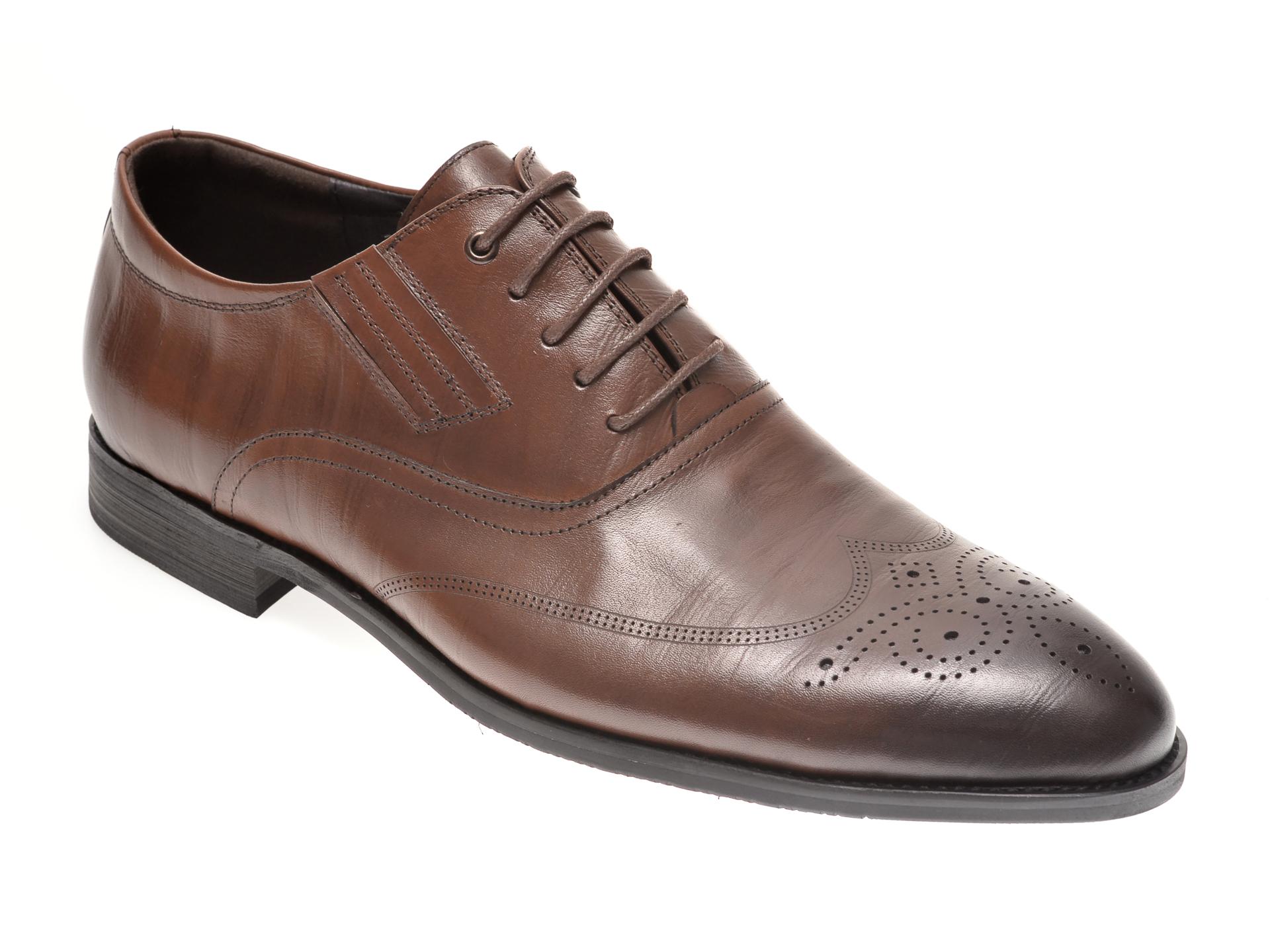 Pantofi OTTER maro, F6063, din piele naturala imagine