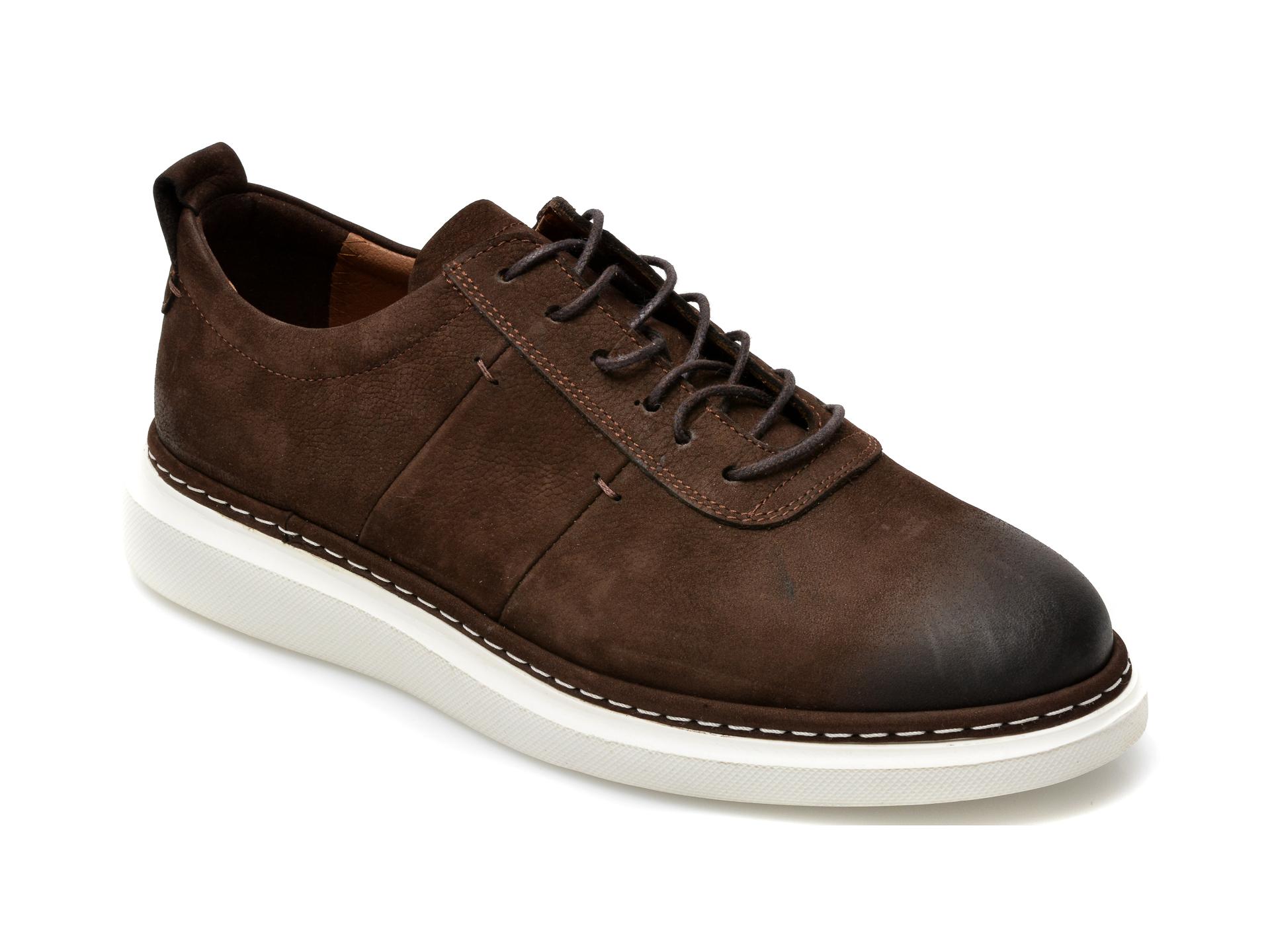 Pantofi OTTER maro inchis, 21KL803, din nabuc imagine otter.ro