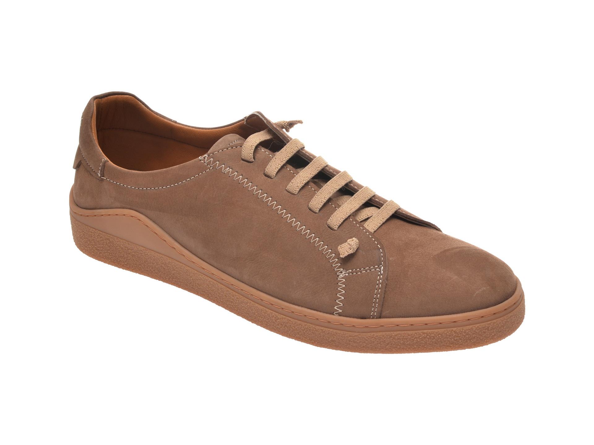 Pantofi OTTER maro, M5607, din nabuc imagine
