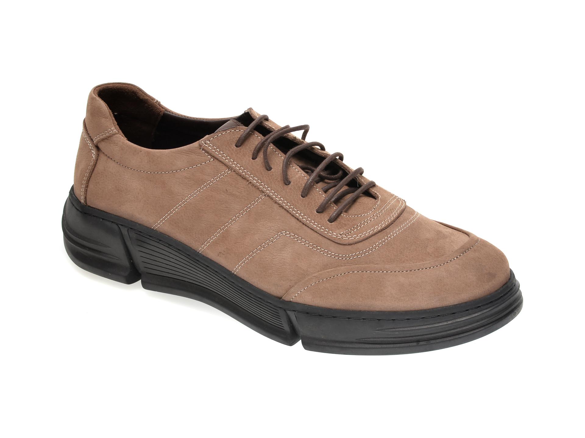 Pantofi OTTER maro, M5726, din nabuc New
