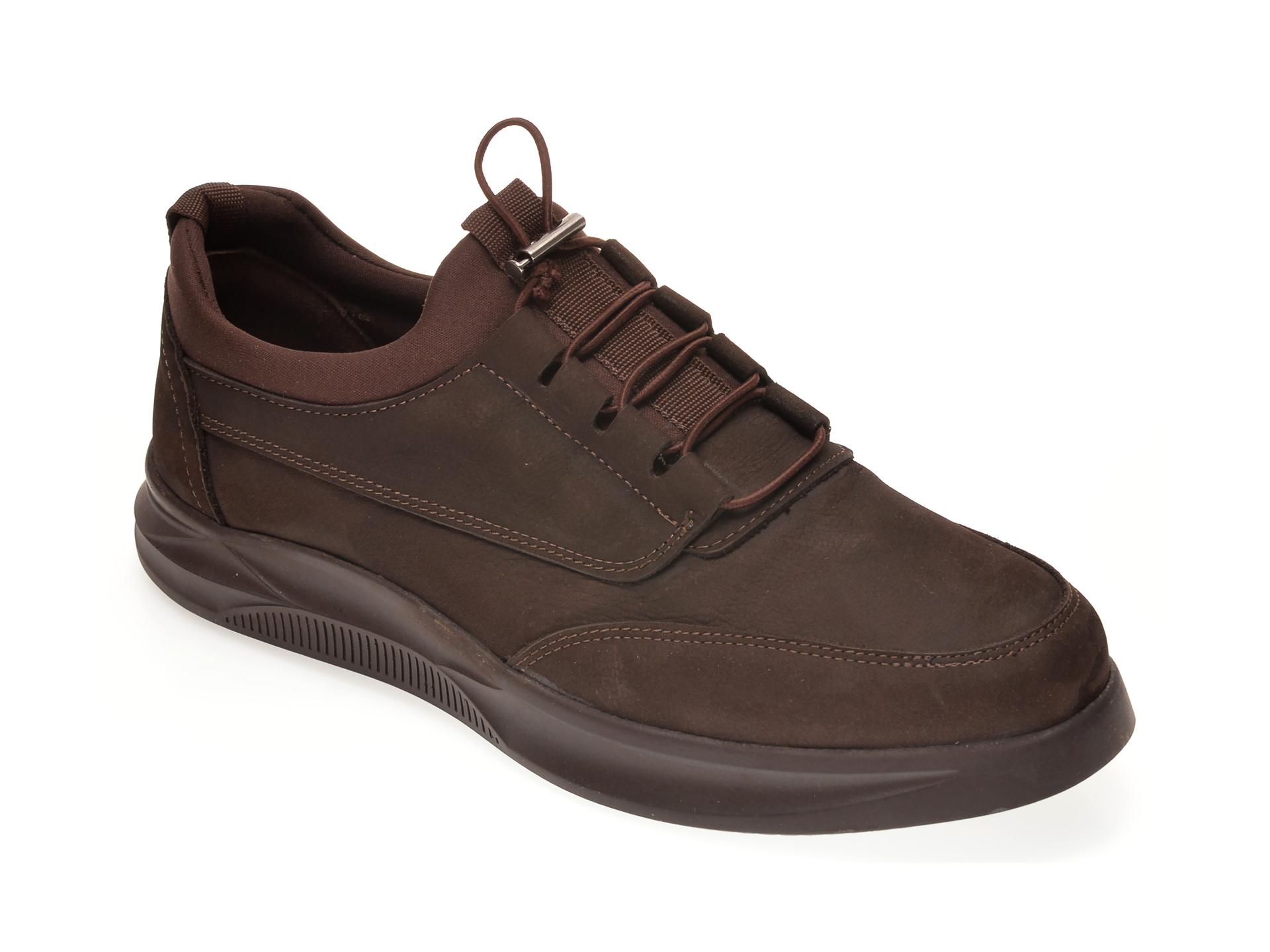 Pantofi OTTER maro, M5790, din nabuc New