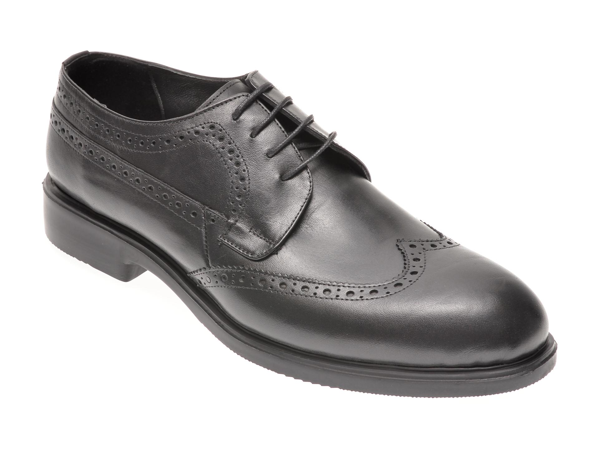 Pantofi OTTER negri, 1042, din piele naturala imagine