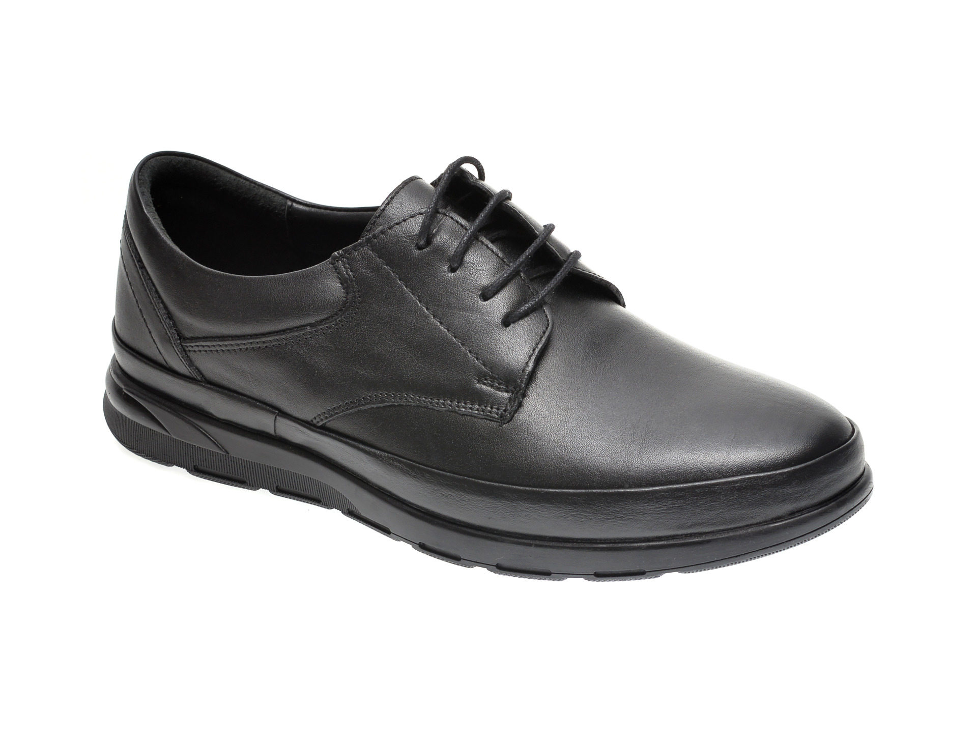 Pantofi Otter Negri, 14082, Din Piele Naturala