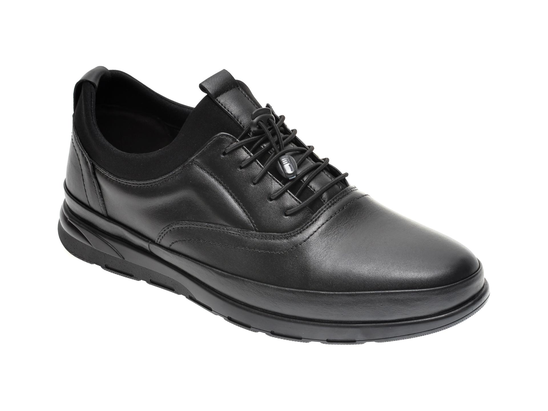 Pantofi OTTER negri, 1437, din piele naturala