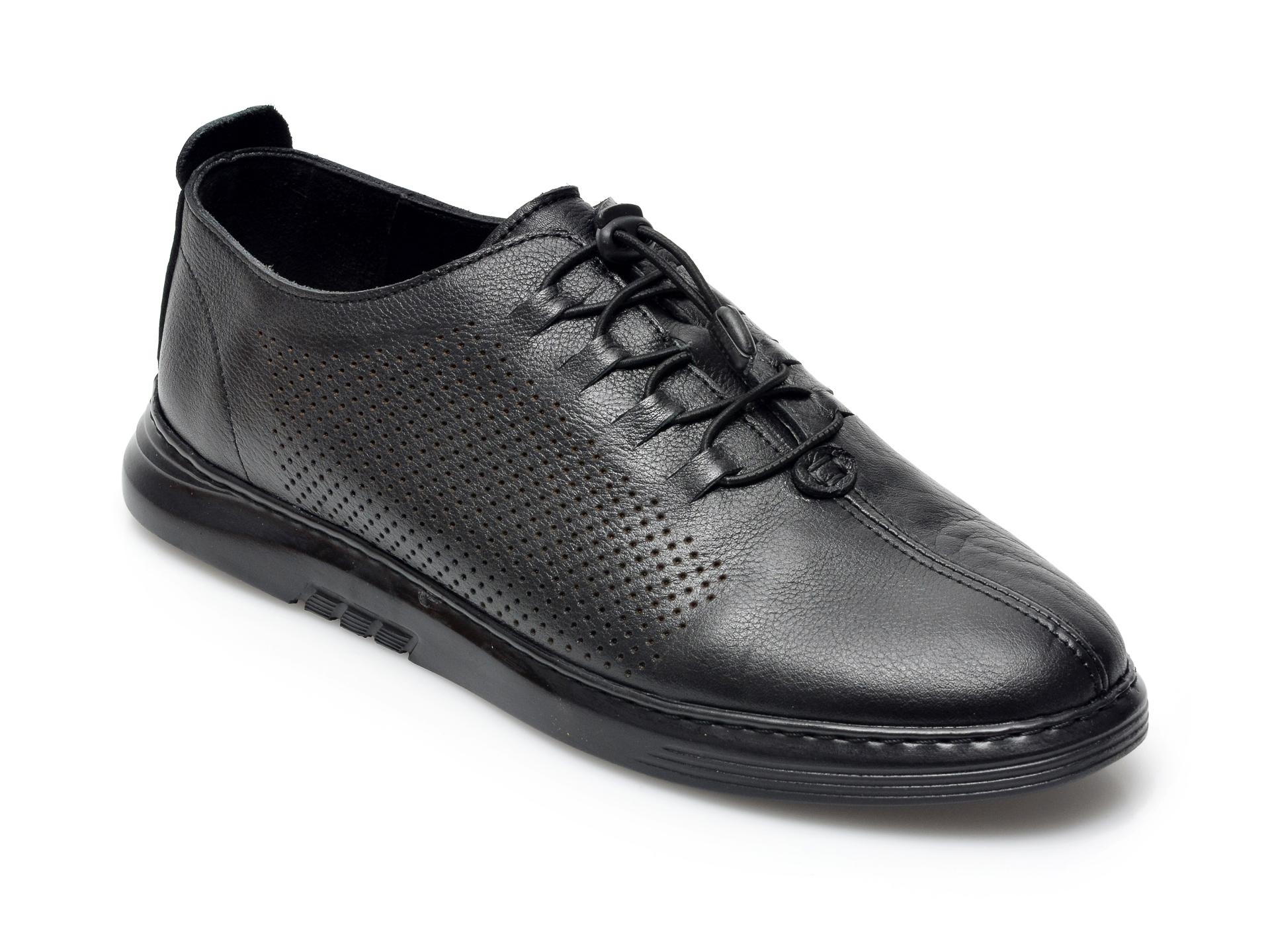 Pantofi OTTER negri, 2025, din piele naturala imagine otter.ro