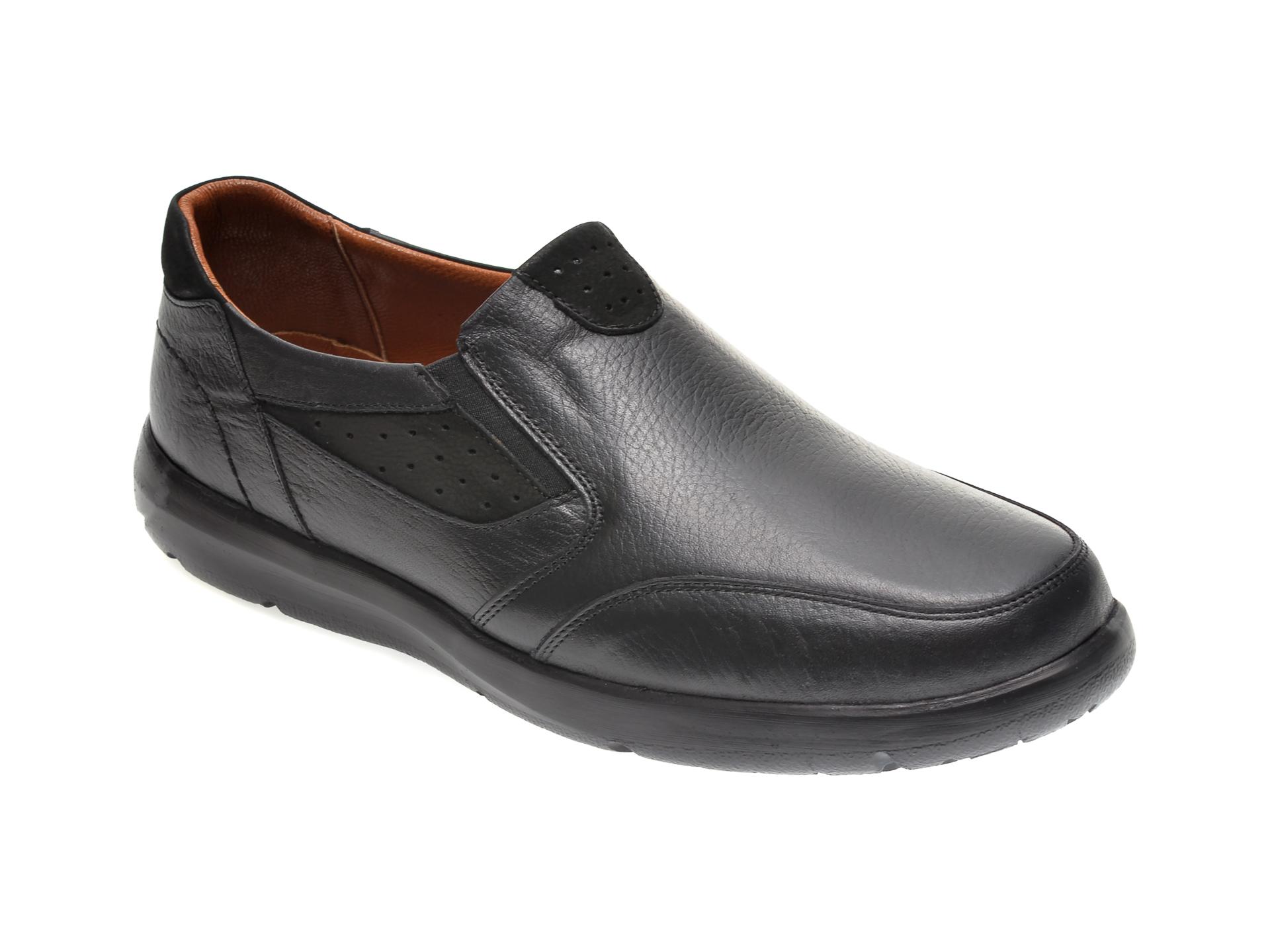 Pantofi OTTER negri, 20N904, din piele naturala imagine