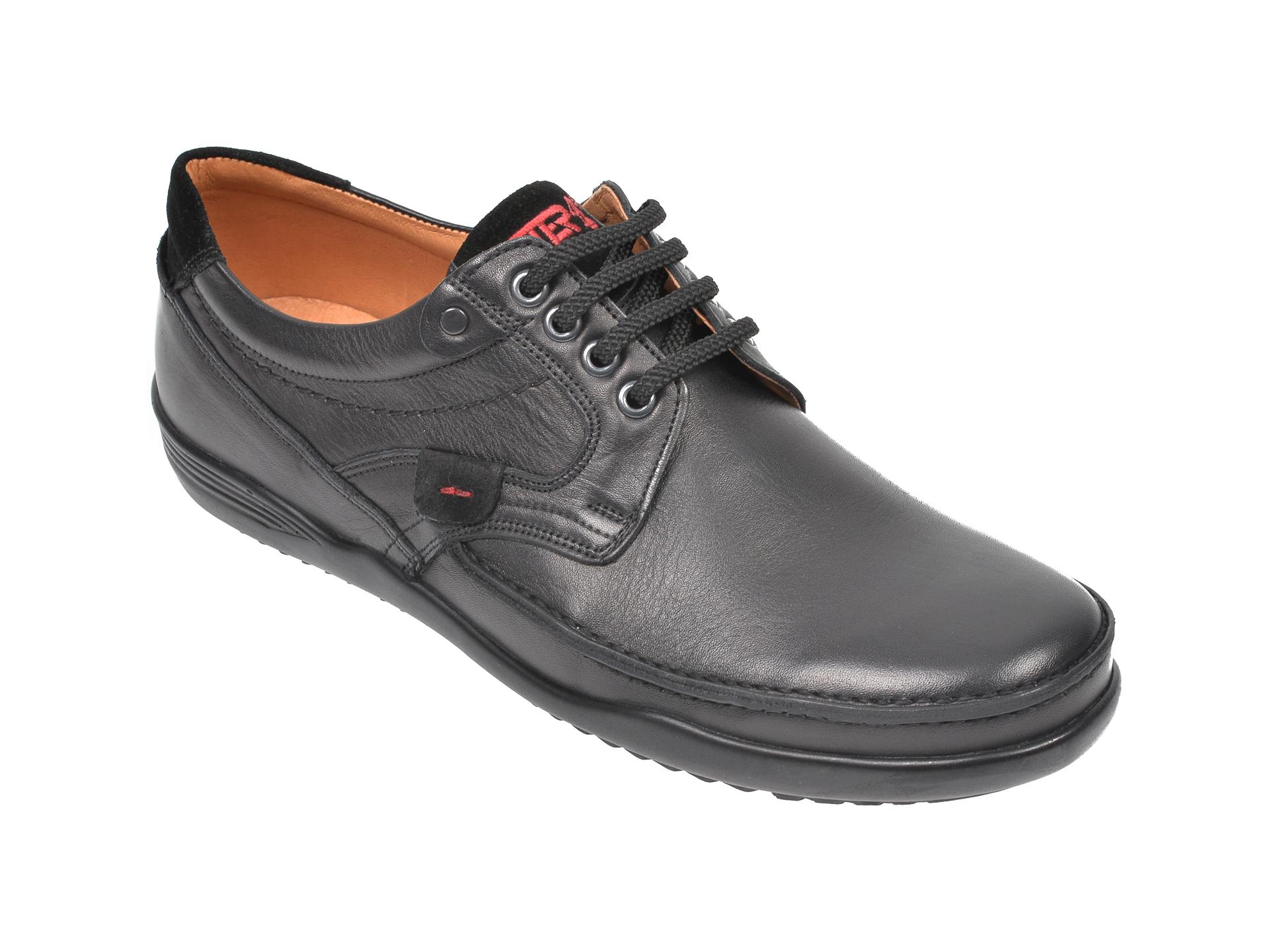 Pantofi OTTER negri, 217, din piele naturala imagine