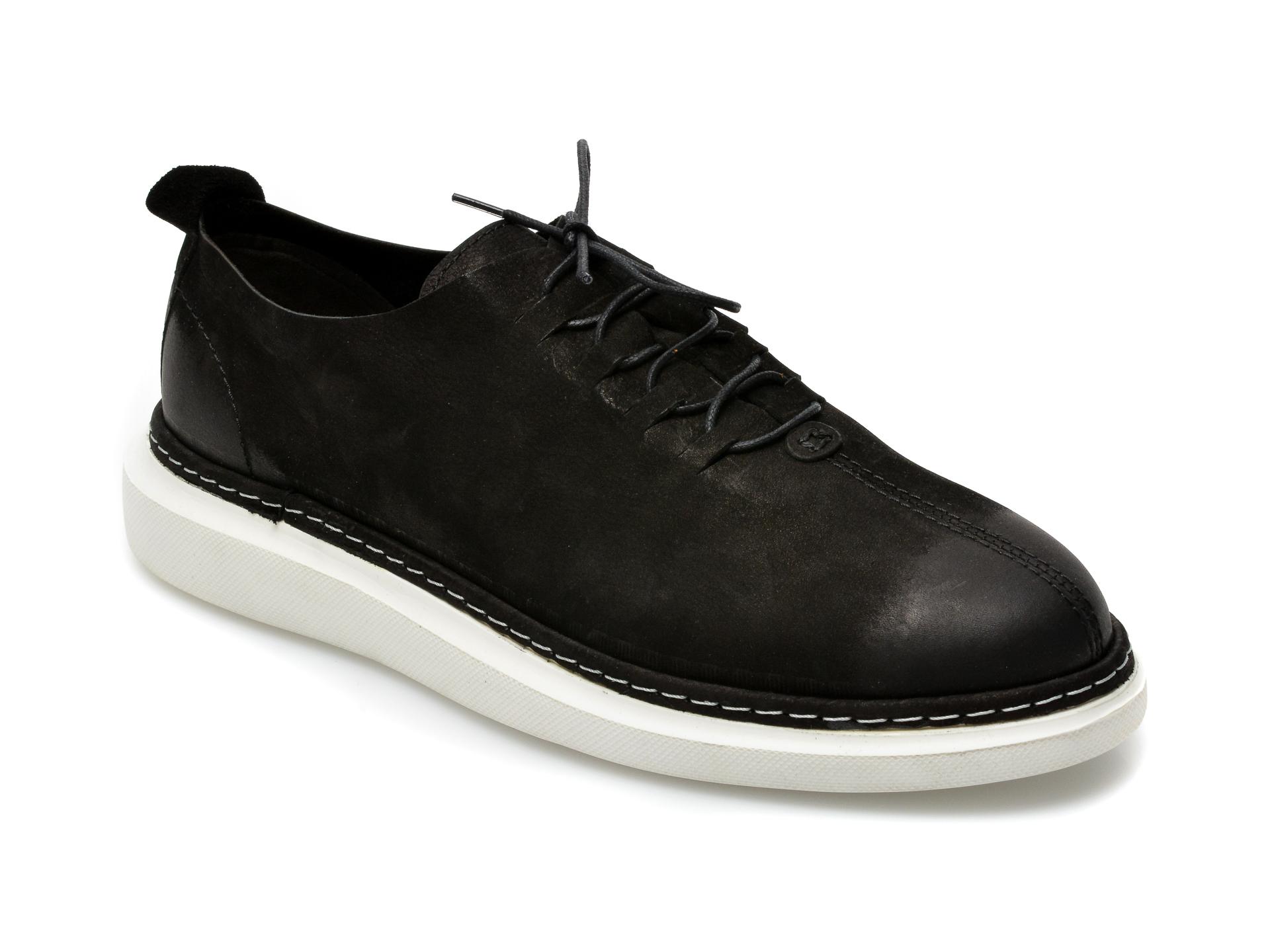 Pantofi OTTER negri, 21KL801, din nabuc imagine otter.ro