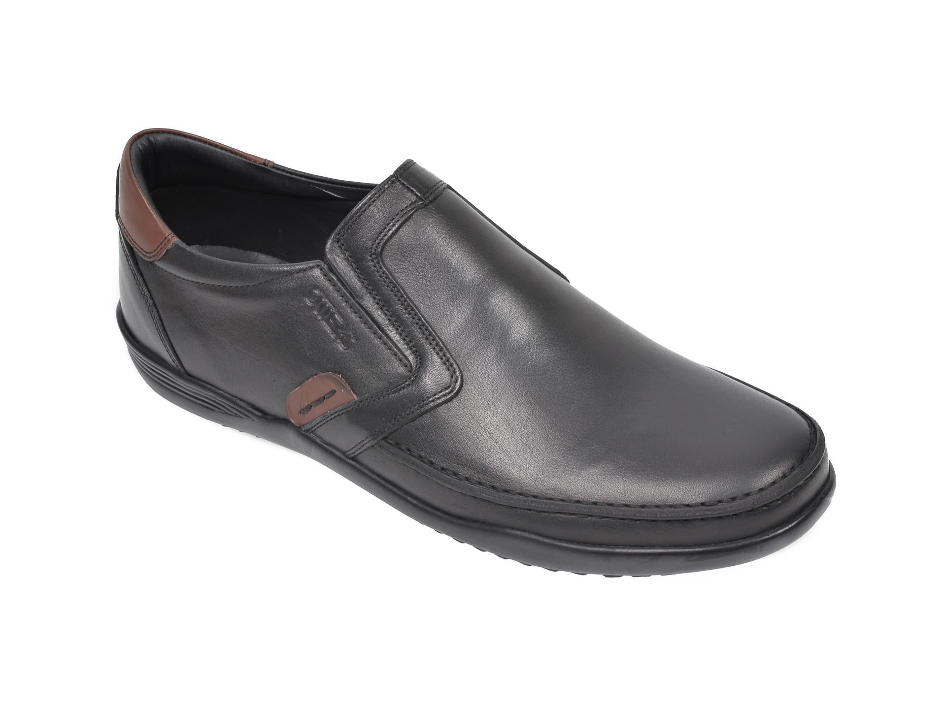 Pantofi OTTER negri, 220, din piele naturala imagine