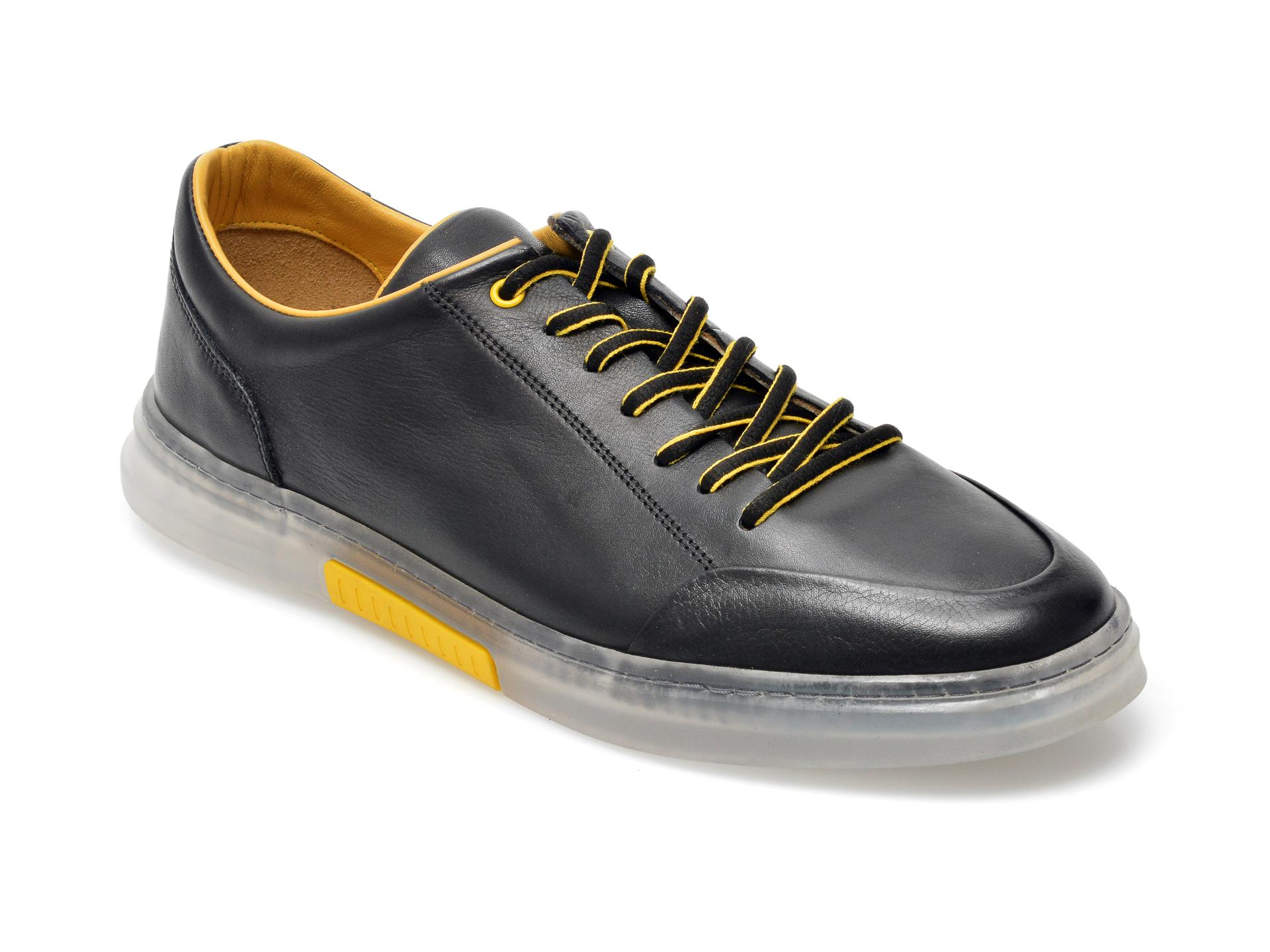 Pantofi OTTER negri, 22601, din piele naturala imagine