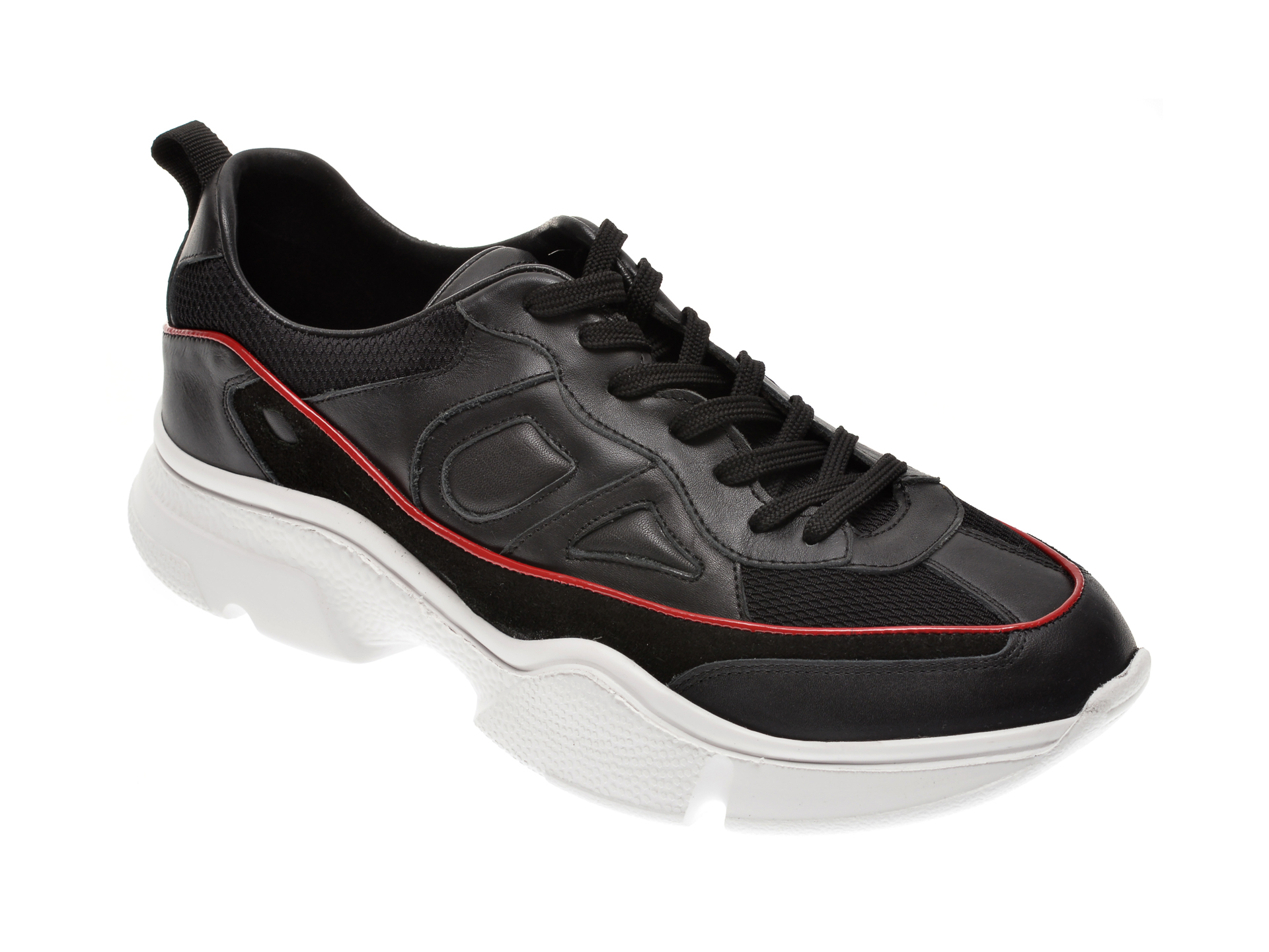 Pantofi OTTER negri, 25256, din material textil si piele naturala imagine