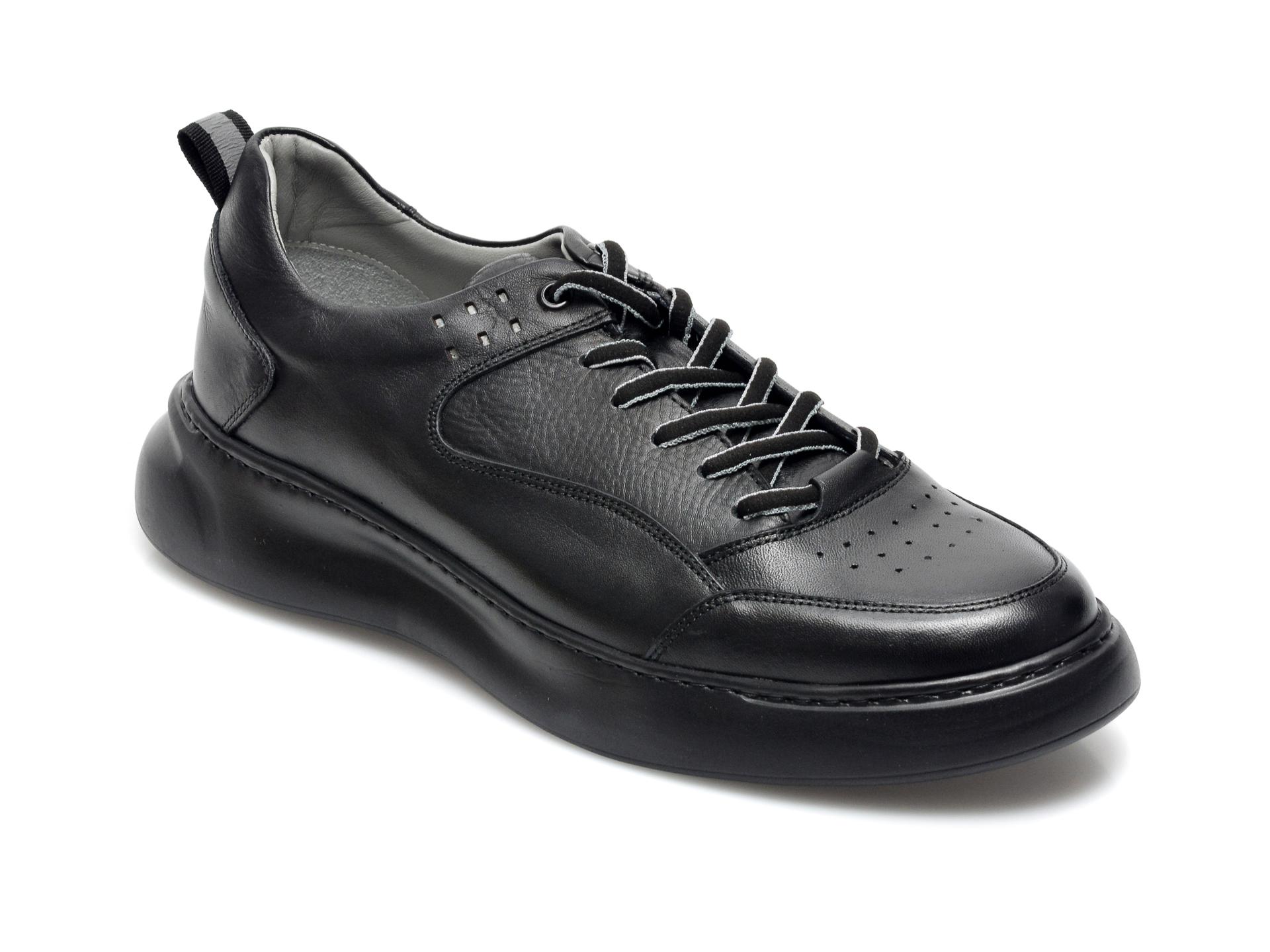 Pantofi OTTER negri, 25502, din piele naturala imagine otter.ro
