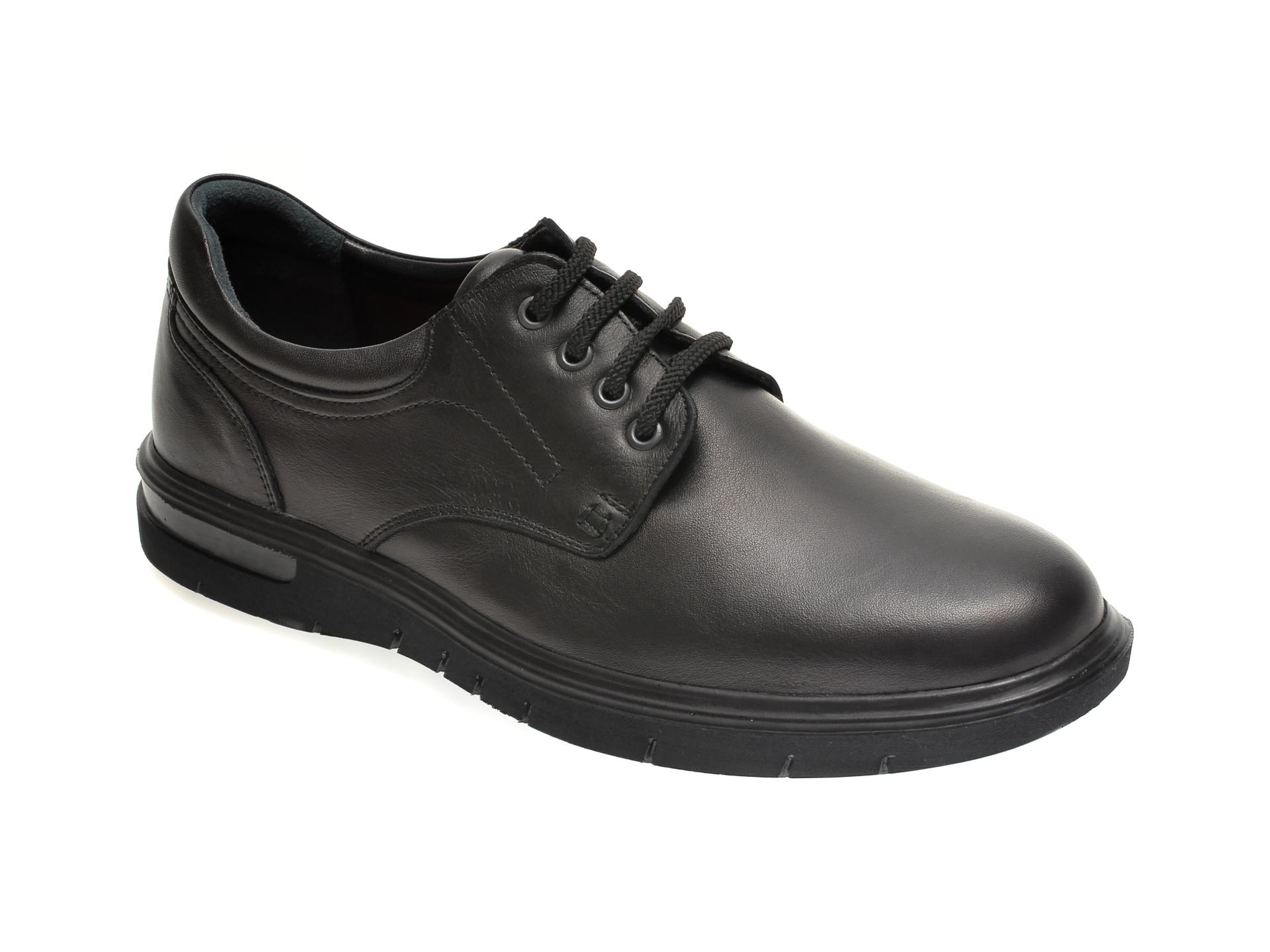 Pantofi Otter Negri, 2804, Din Piele Naturala