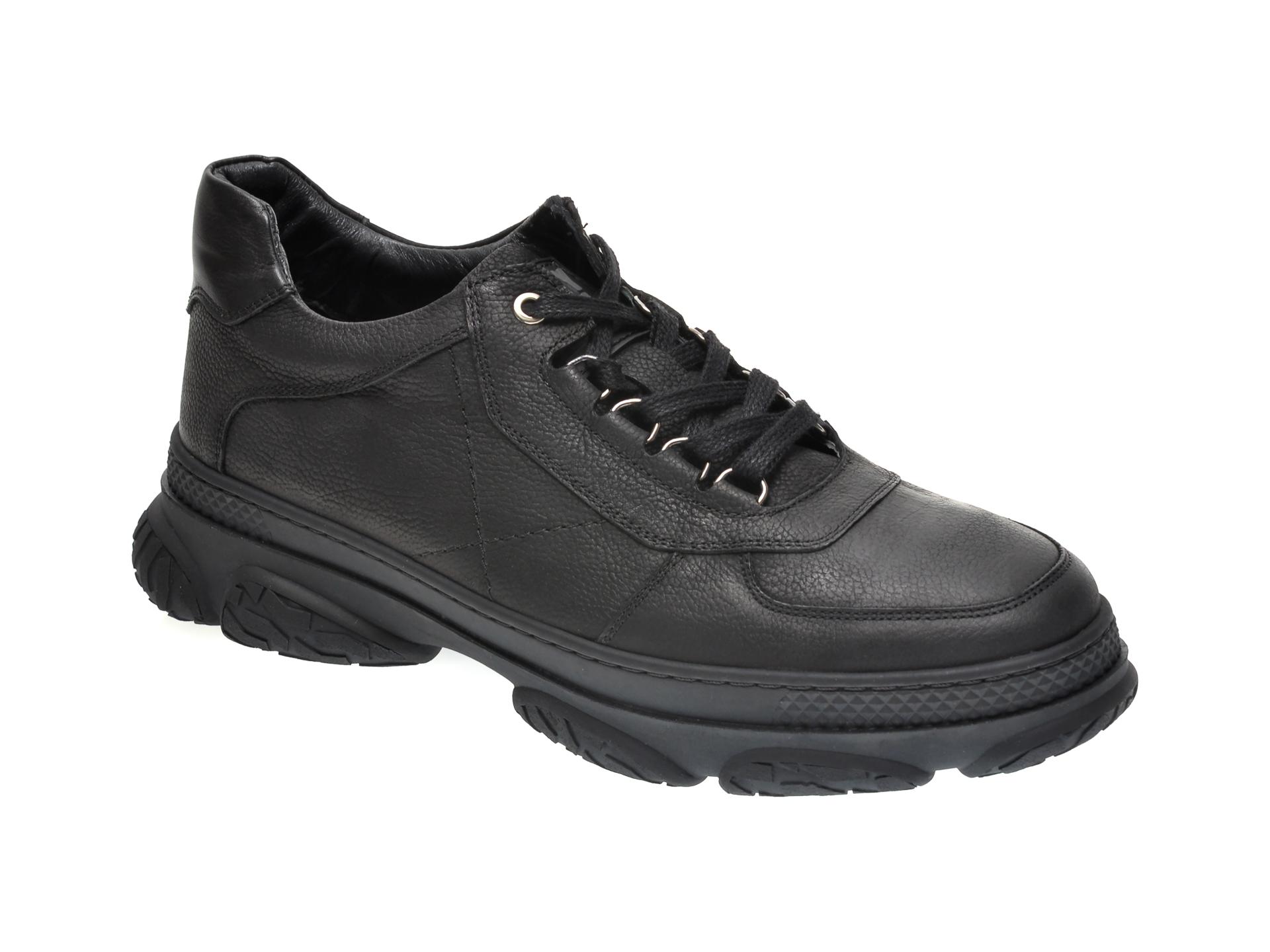 Pantofi OTTER negri, 28402, din nabuc imagine