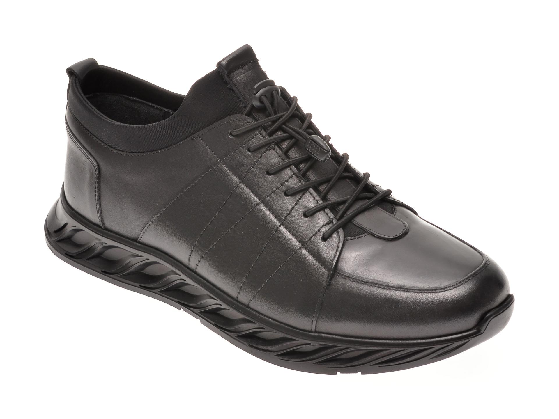 Pantofi OTTER negri, 30904, din piele naturala imagine