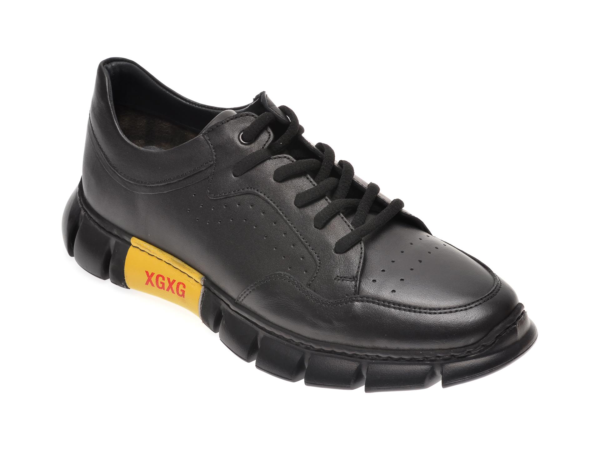 Pantofi OTTER negri, 40101, din piele naturala imagine