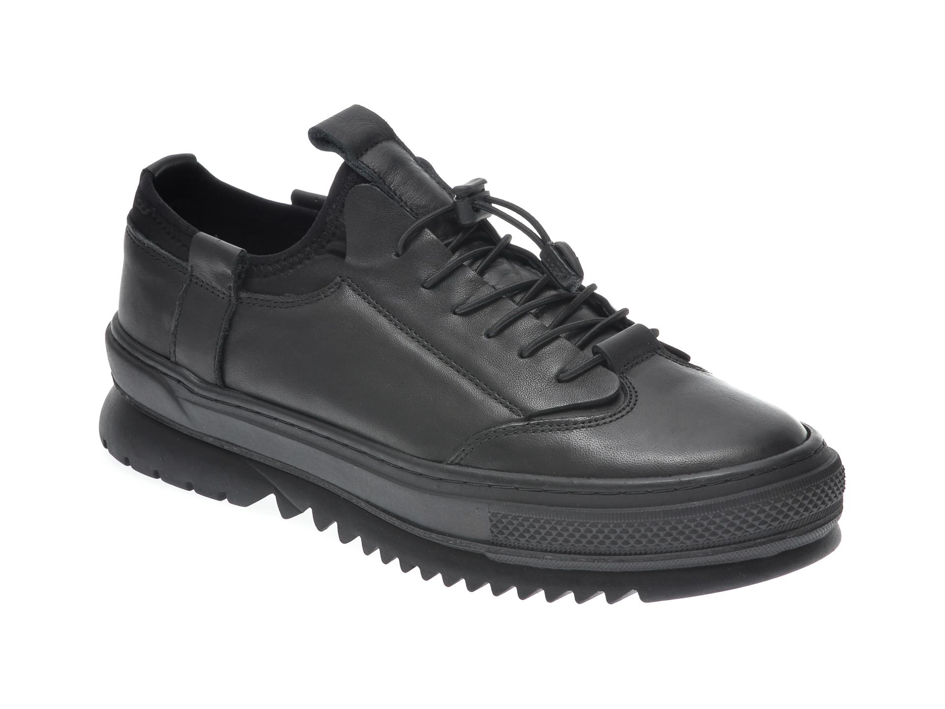 Pantofi OTTER negri, 4029, din piele naturala
