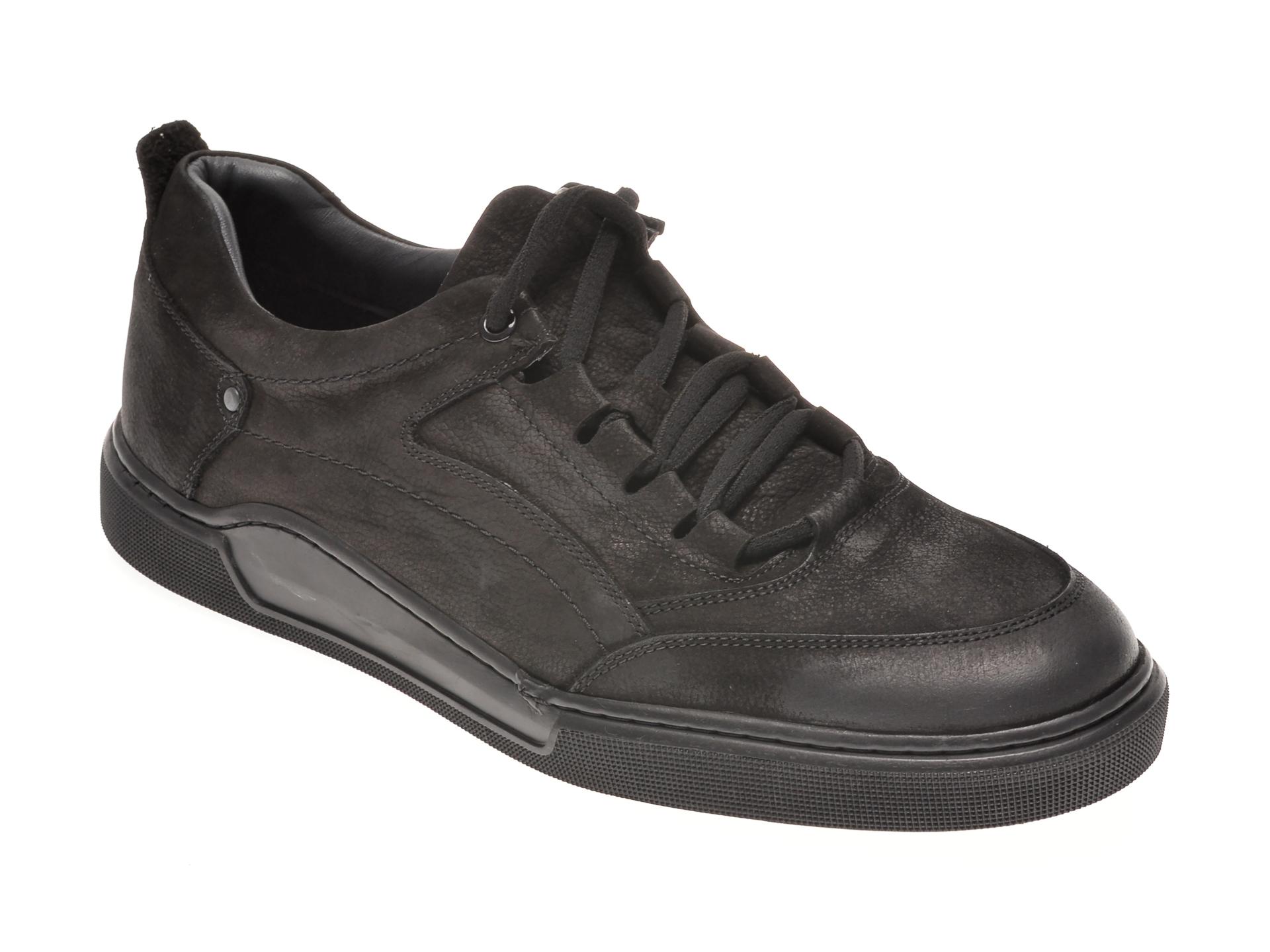 Pantofi OTTER negri, 48707, din nabuc New