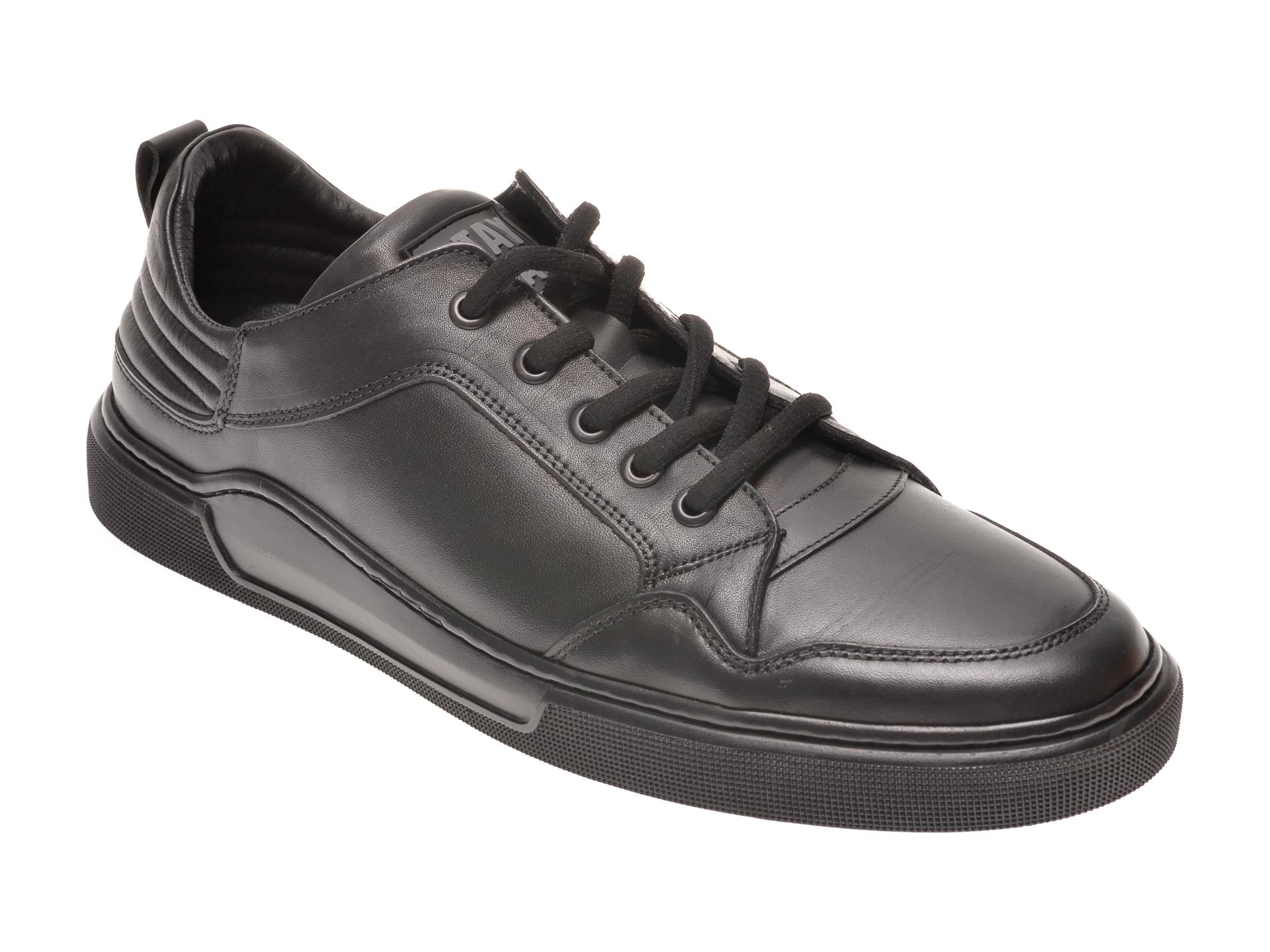 Pantofi OTTER negri, 48709, din piele naturala New