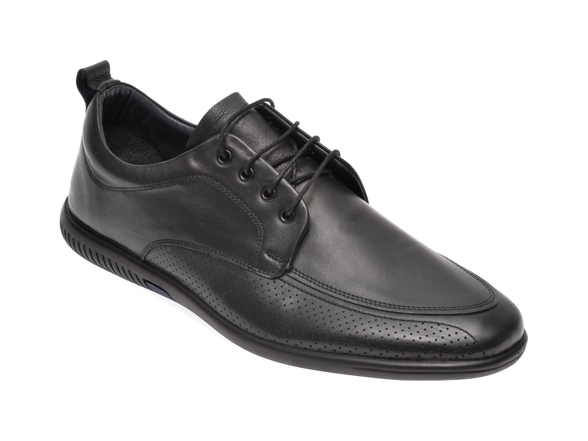 Pantofi OTTER negri, 53601, din piele naturala