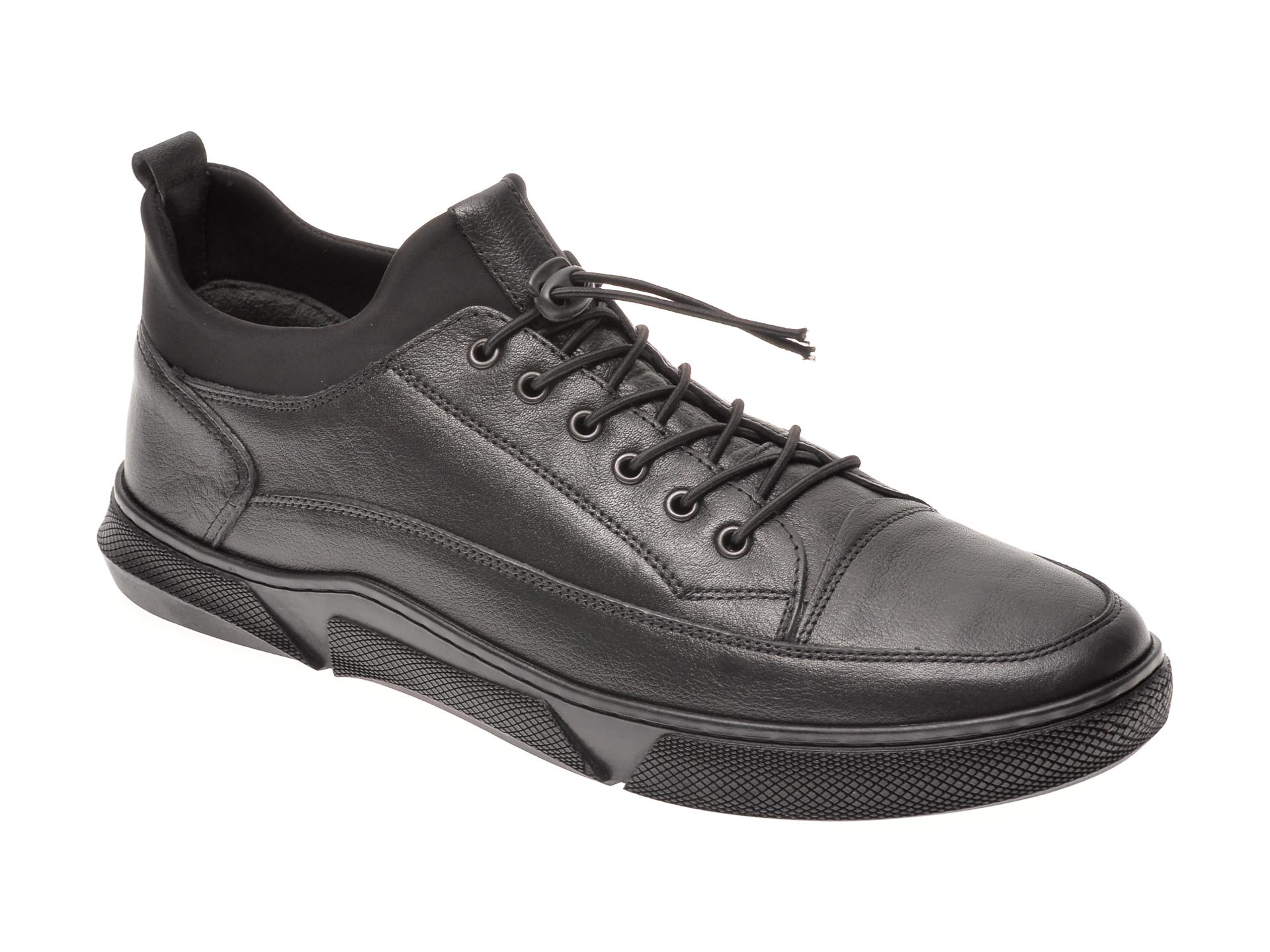 Pantofi OTTER negri, 6002, din piele naturala imagine